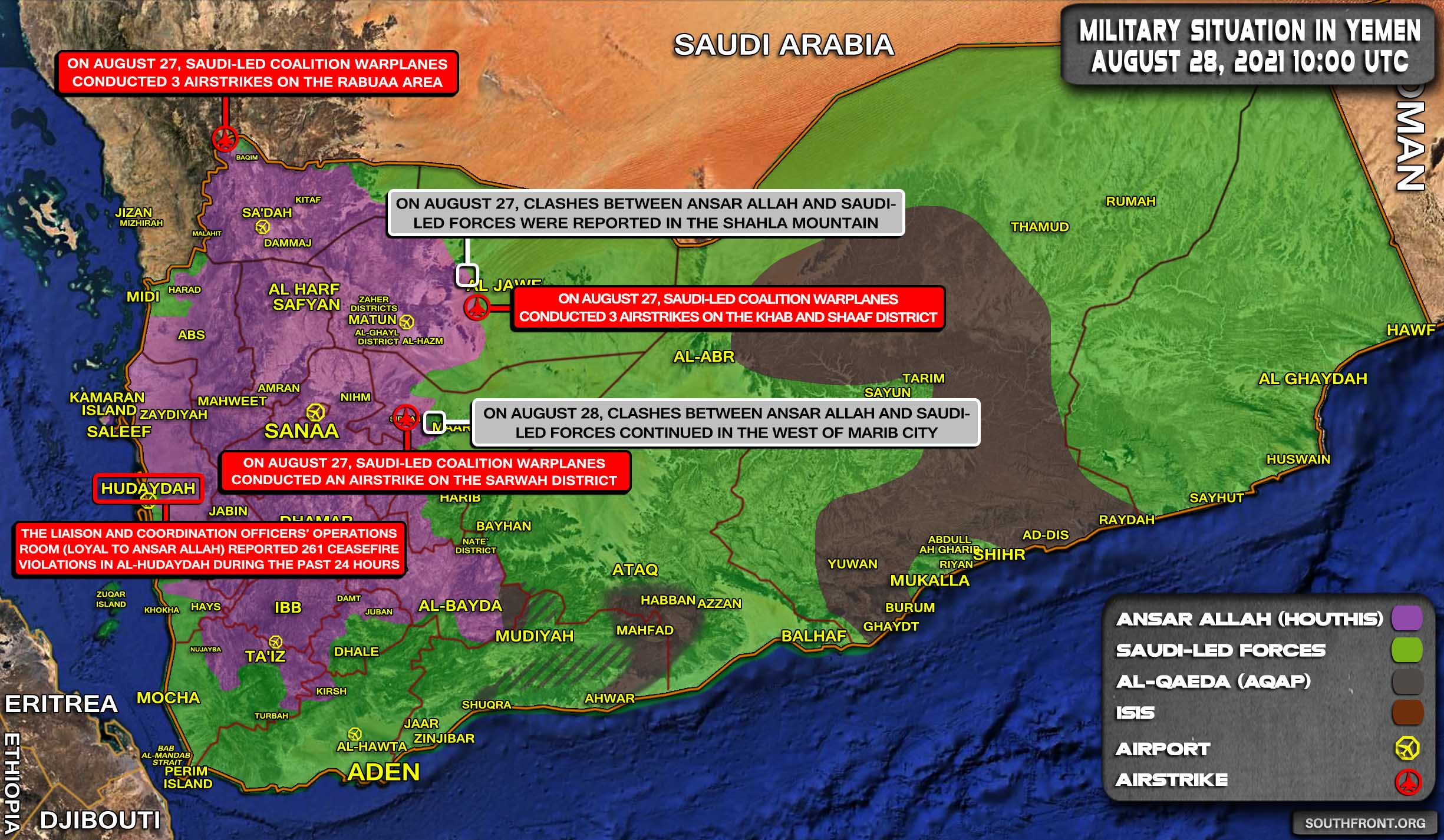 Military Situation In Yemen On August 28, 2021 (Map Update)