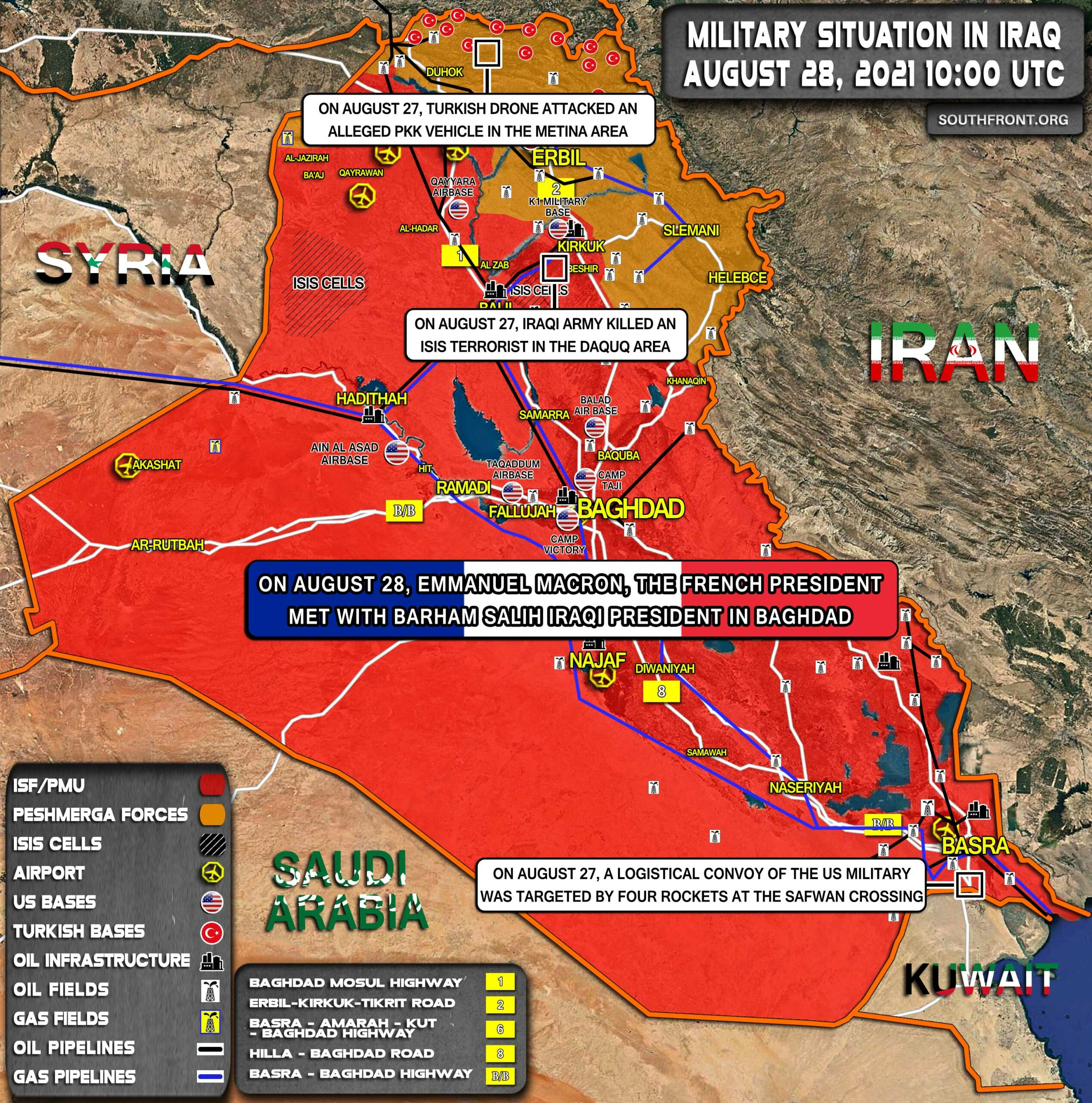 Military Situation In Iraq On August 28, 2021 (Map Update)