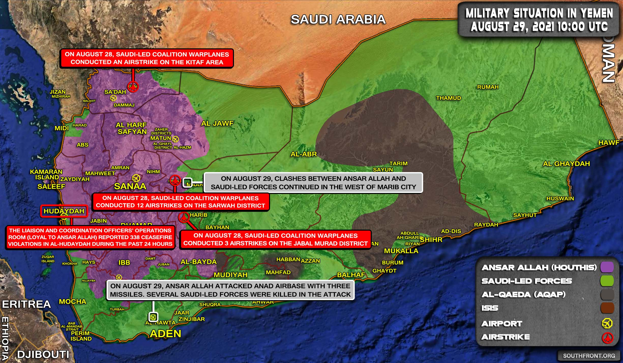 Military Situation In Yemen On August 29, 2021 (Map Update)