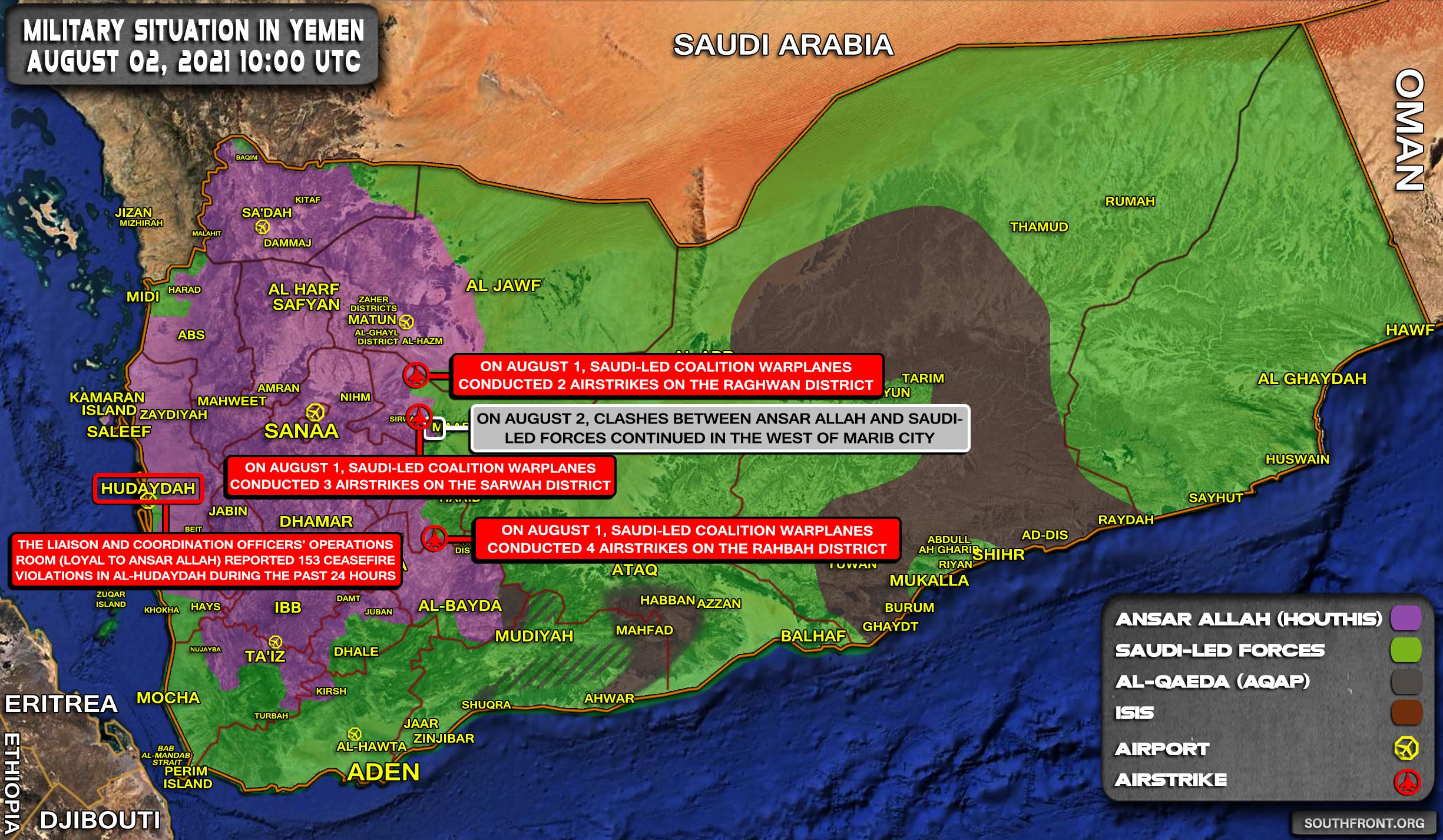 Military Situation In Yemen On August 2, 2021 (Map Update)