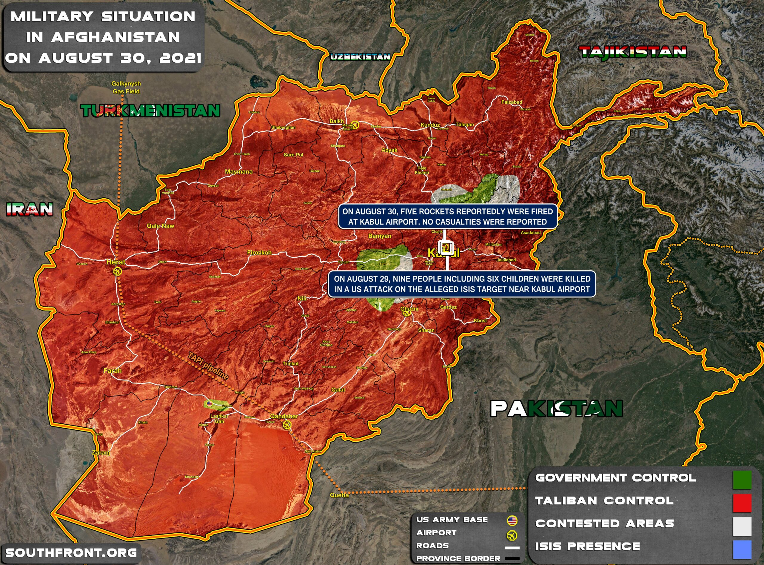 Military Situation In Afghanistan On August 30, 2021 (Map Update)