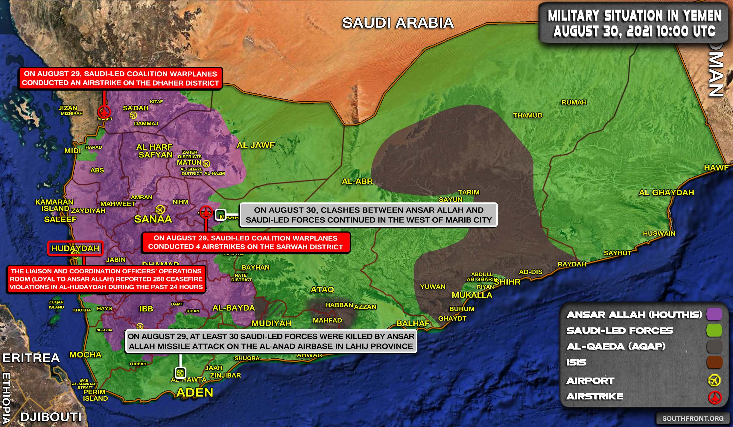 Military Situation In Yemen On August 30, 2021 (Map Update)