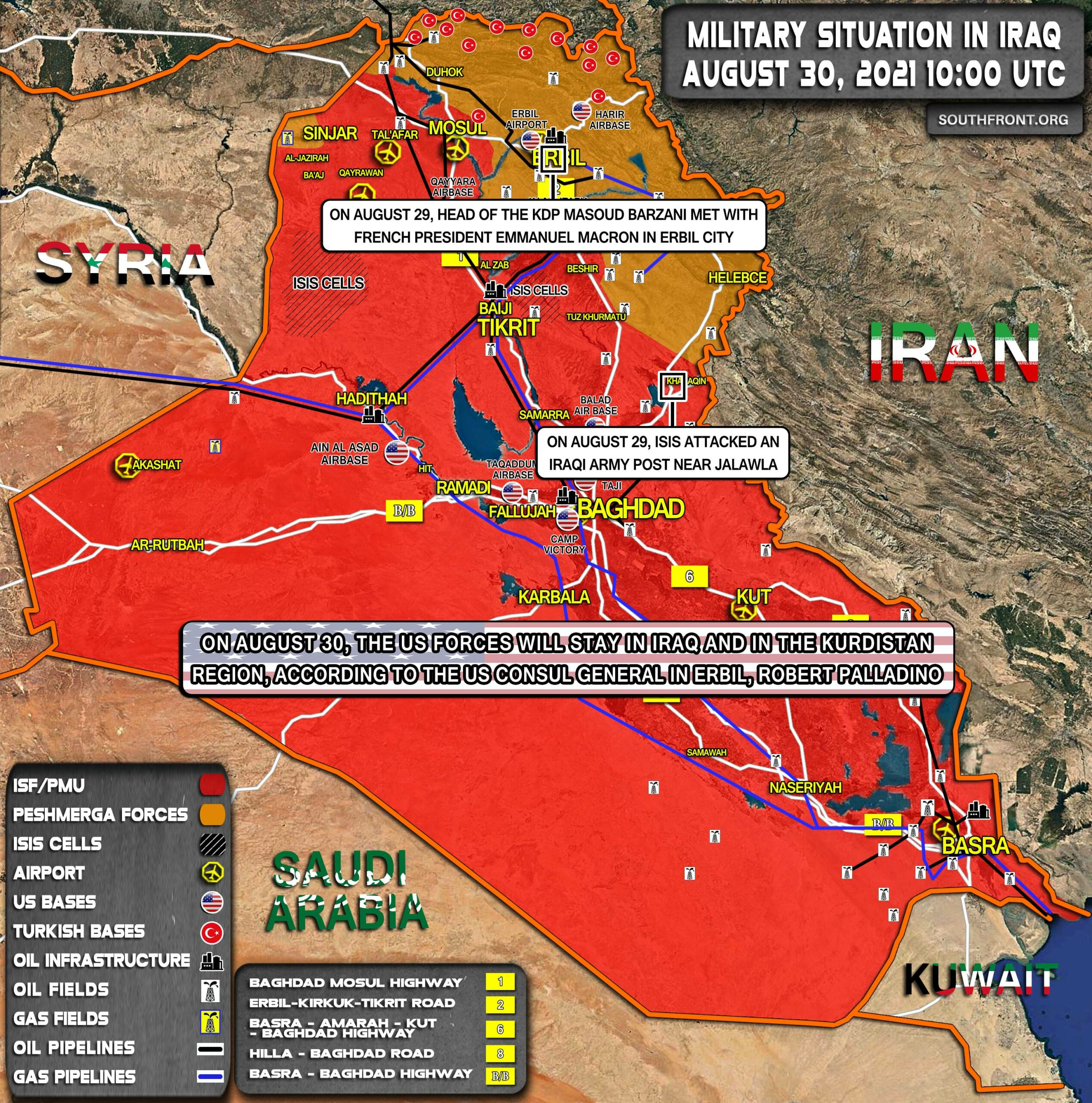 Military Situation In Iraq On August 30, 2021 (Map Update)