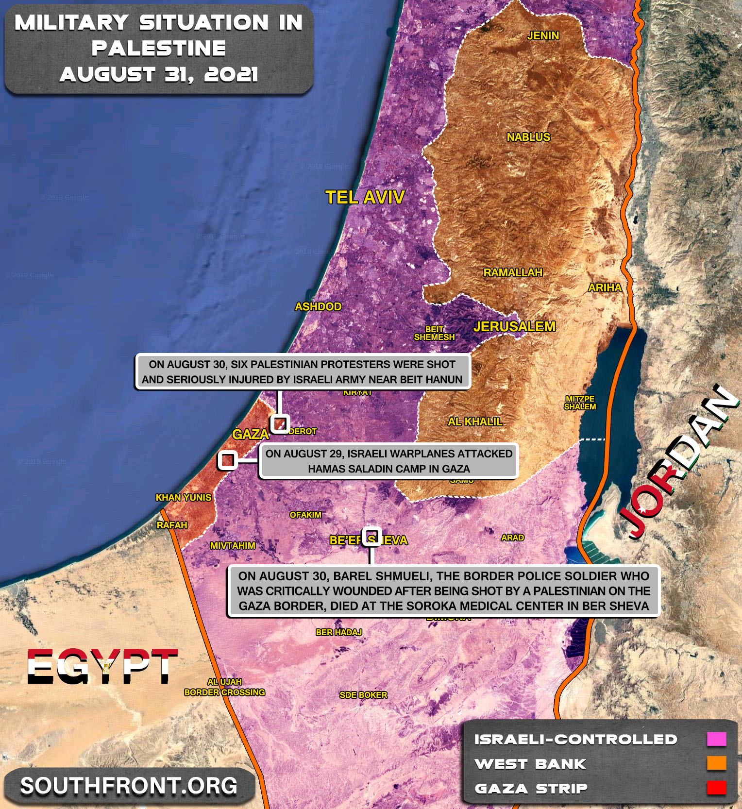 Military Situation In The West Bank and Gaza Strip On August 31, 2021 (Map Update)