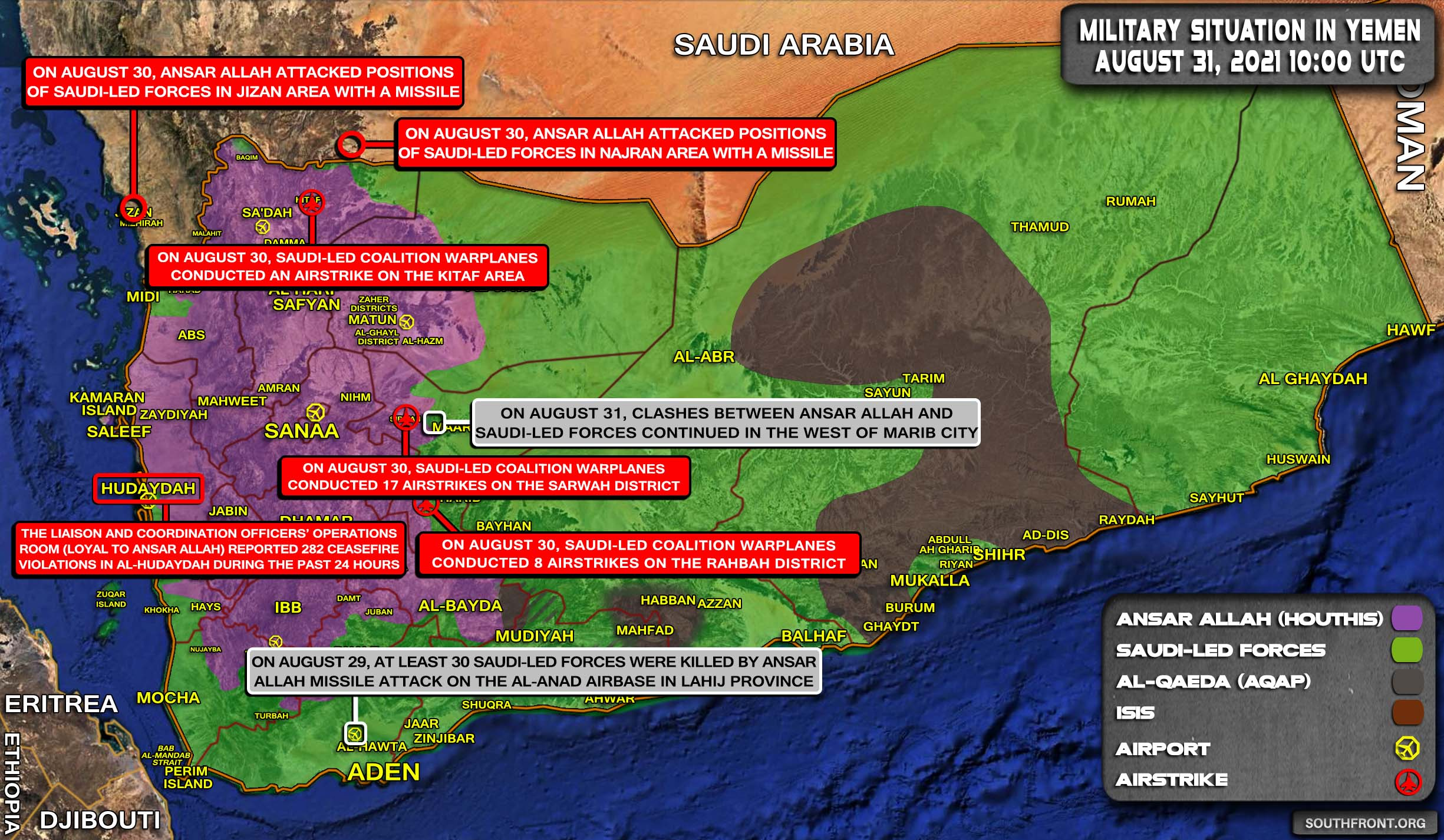 Hard Day For Saudi-Led Forces: Houthis Launched Several Attacks Both In Yemen And Saudi Arabia