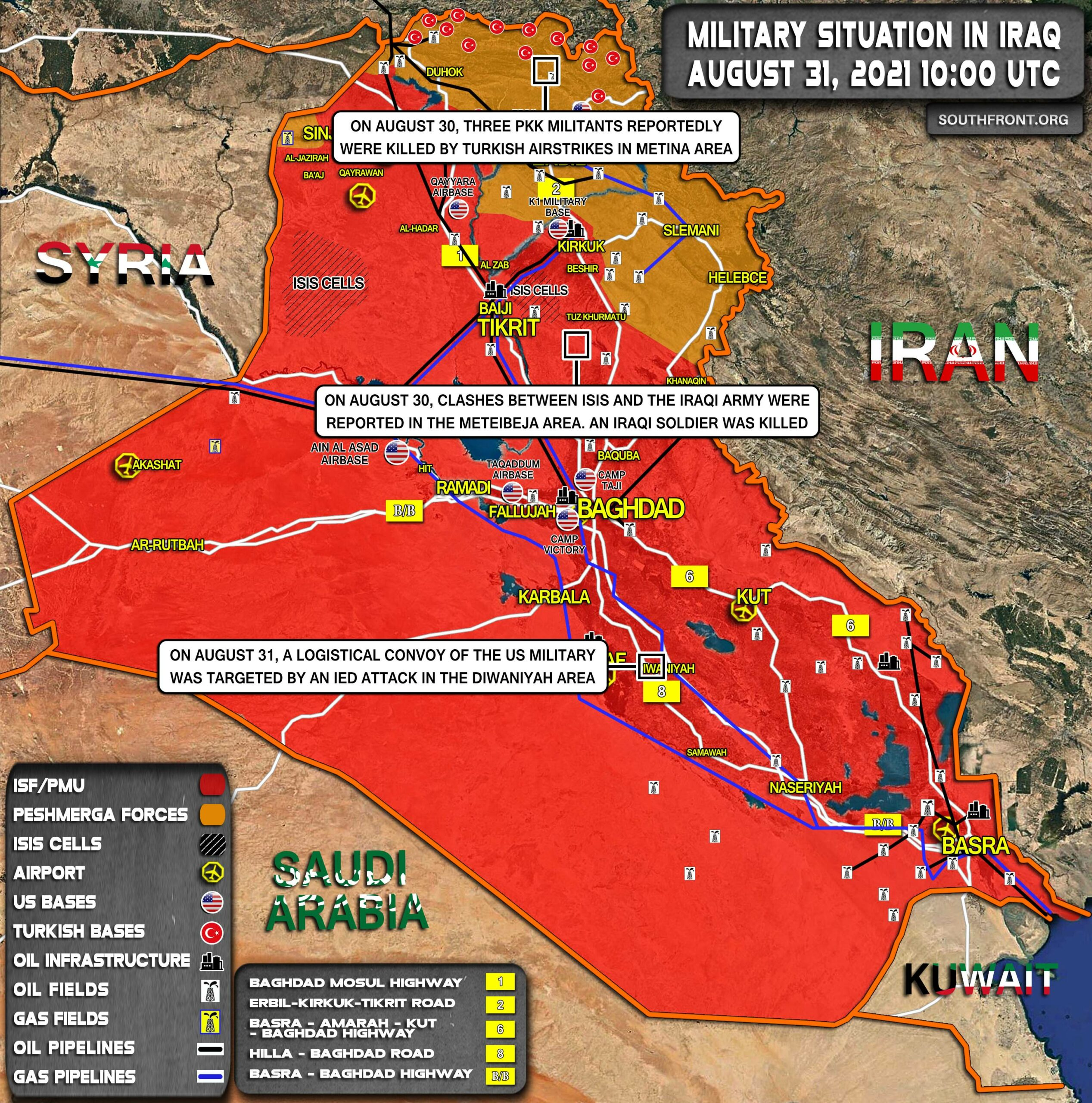 Military Situation In Iraq On August 31, 2021 (Map Update)