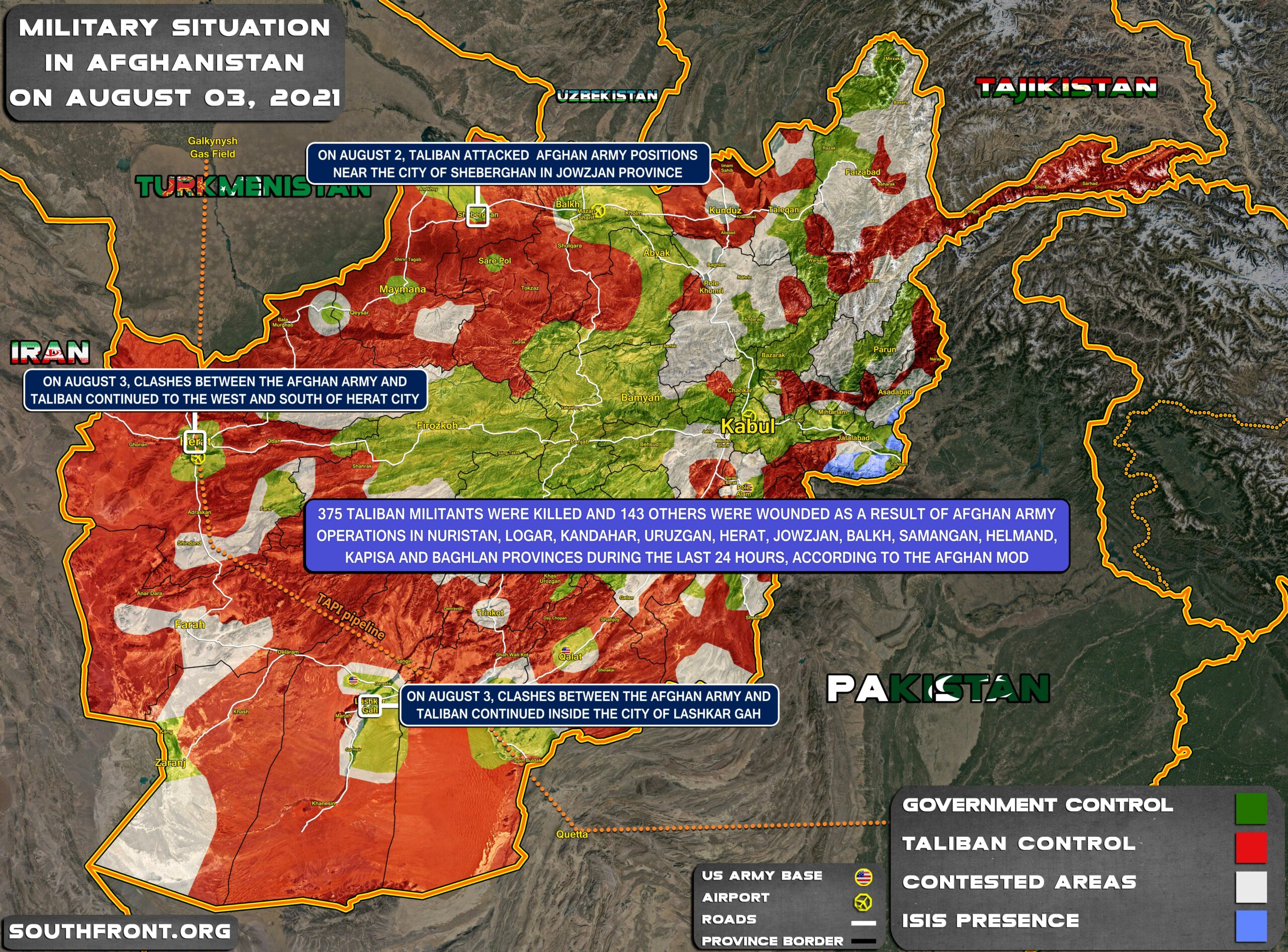 Military Situation In Afghanistan On August 3, 2021 (Map Update)
