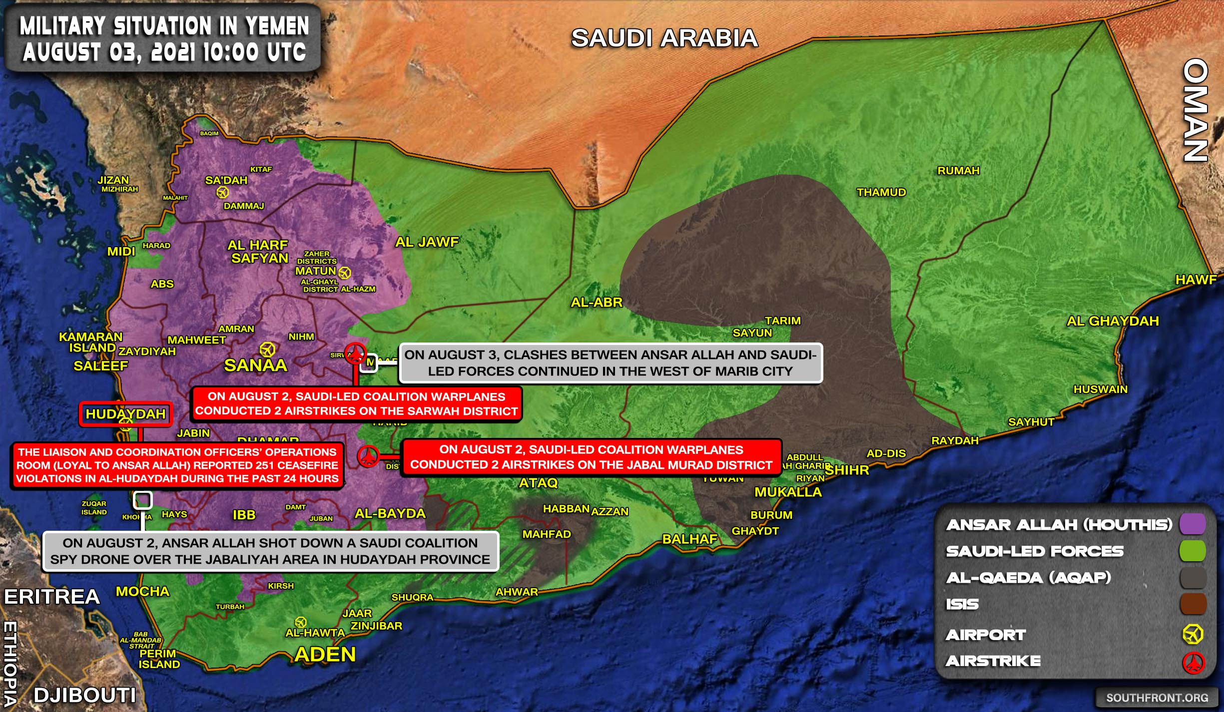 Military Situation In Yemen On August 3, 2021 (Map Update)