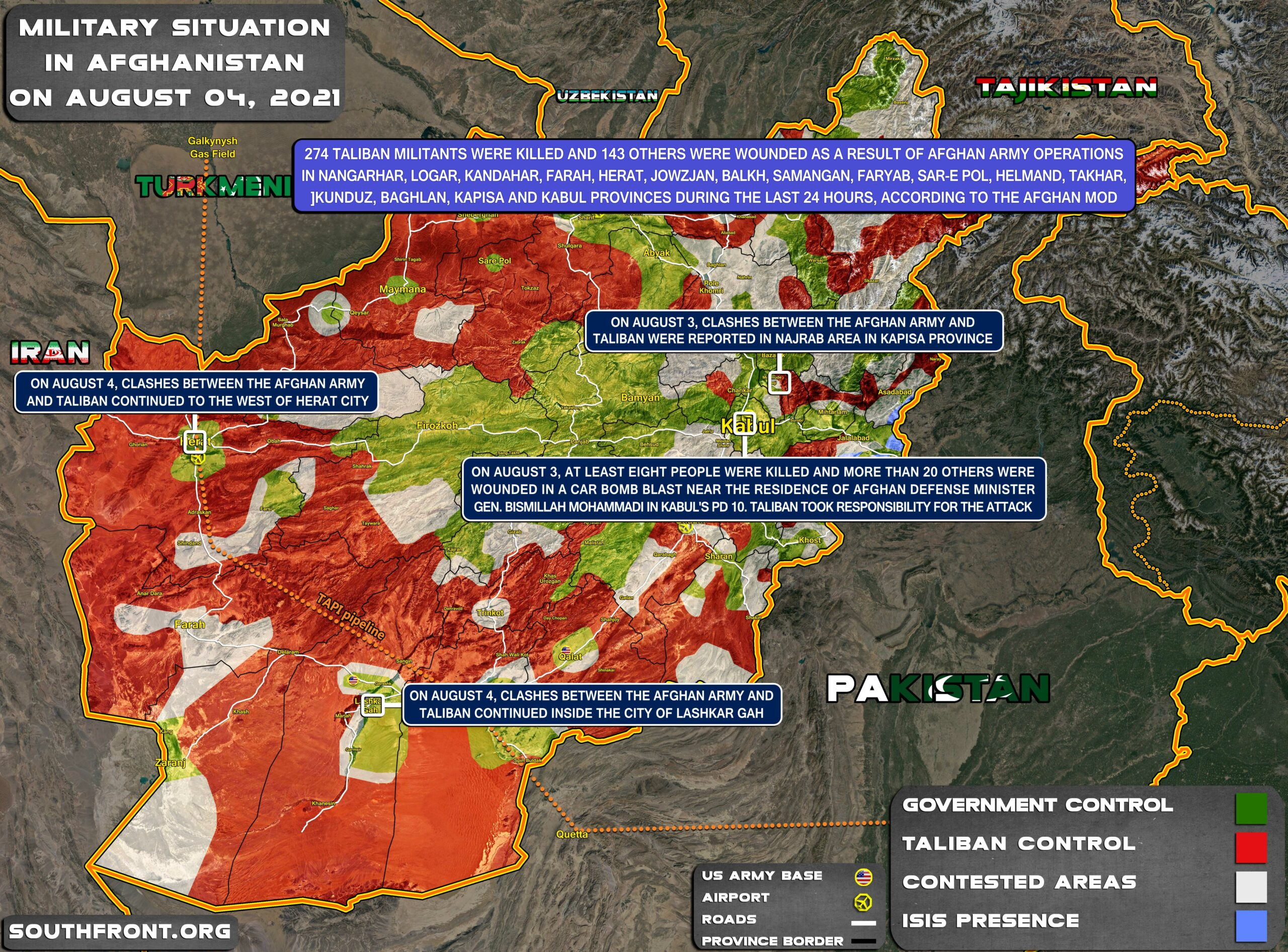 Military Situation In Afghanistan On August 4, 2021 (Map Update)