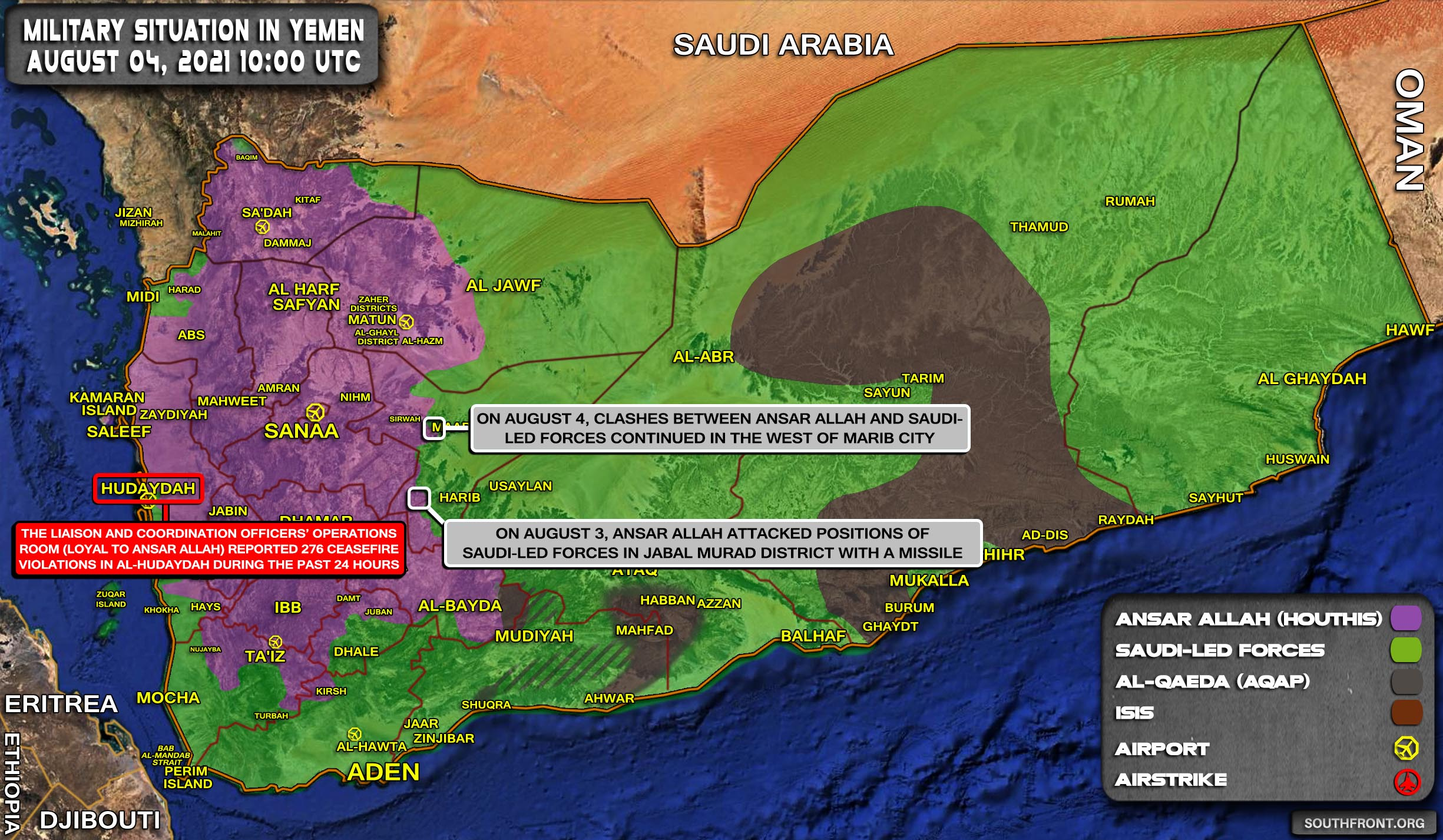 Military Situation In Yemen On August 4, 2021 (Map Update)