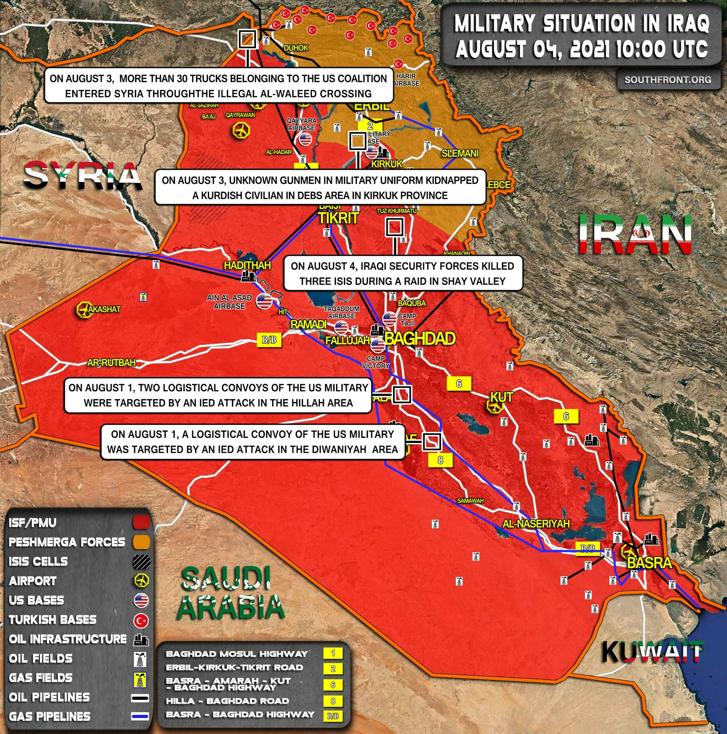 Military Situation In Iraq On August 4, 2021 (Map Update)
