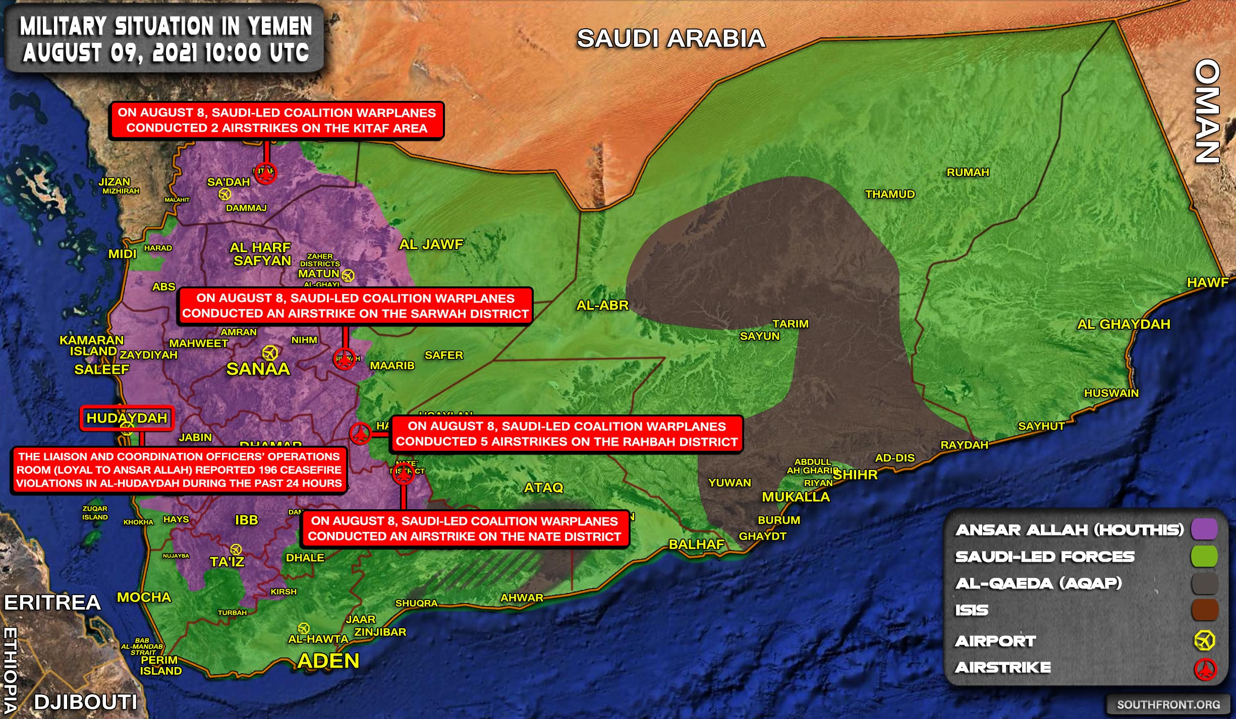 Military Situation In Yemen On August 9, 2021 (Map Update)