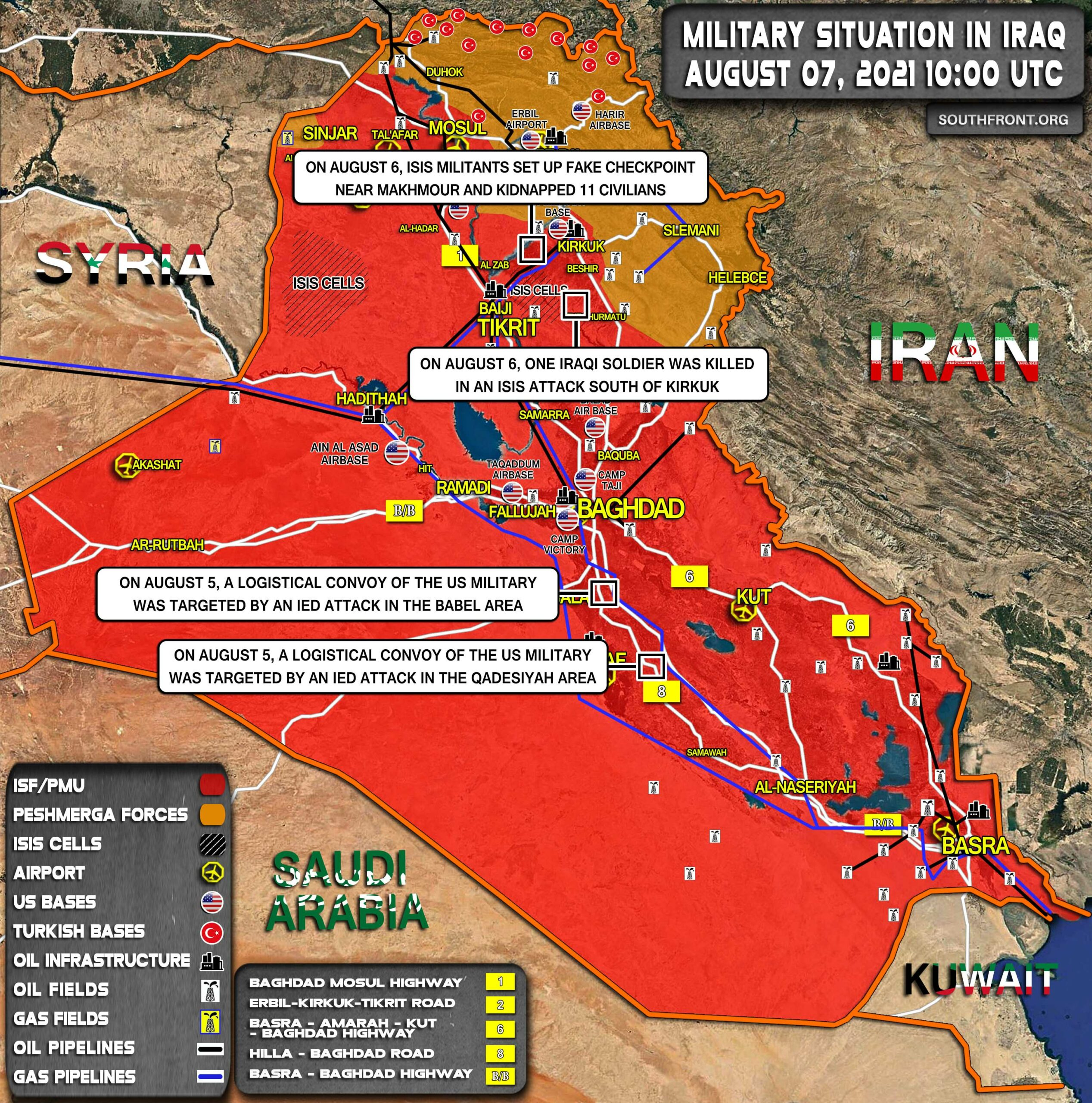 Military Situation In Iraq On August 7, 2021 (Map Update)