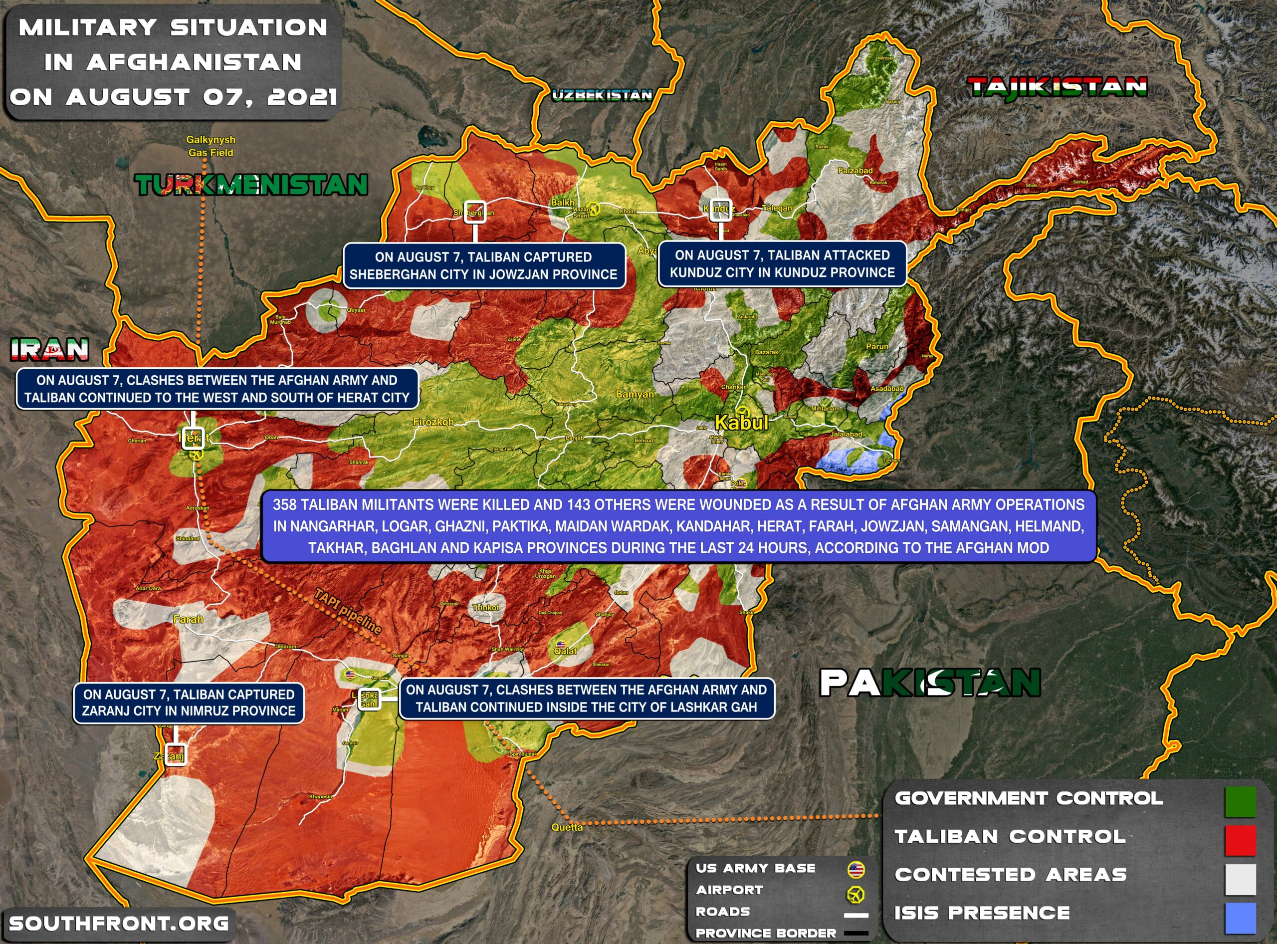Military Situation In Afghanistan On August 7, 2021 (Map Update)
