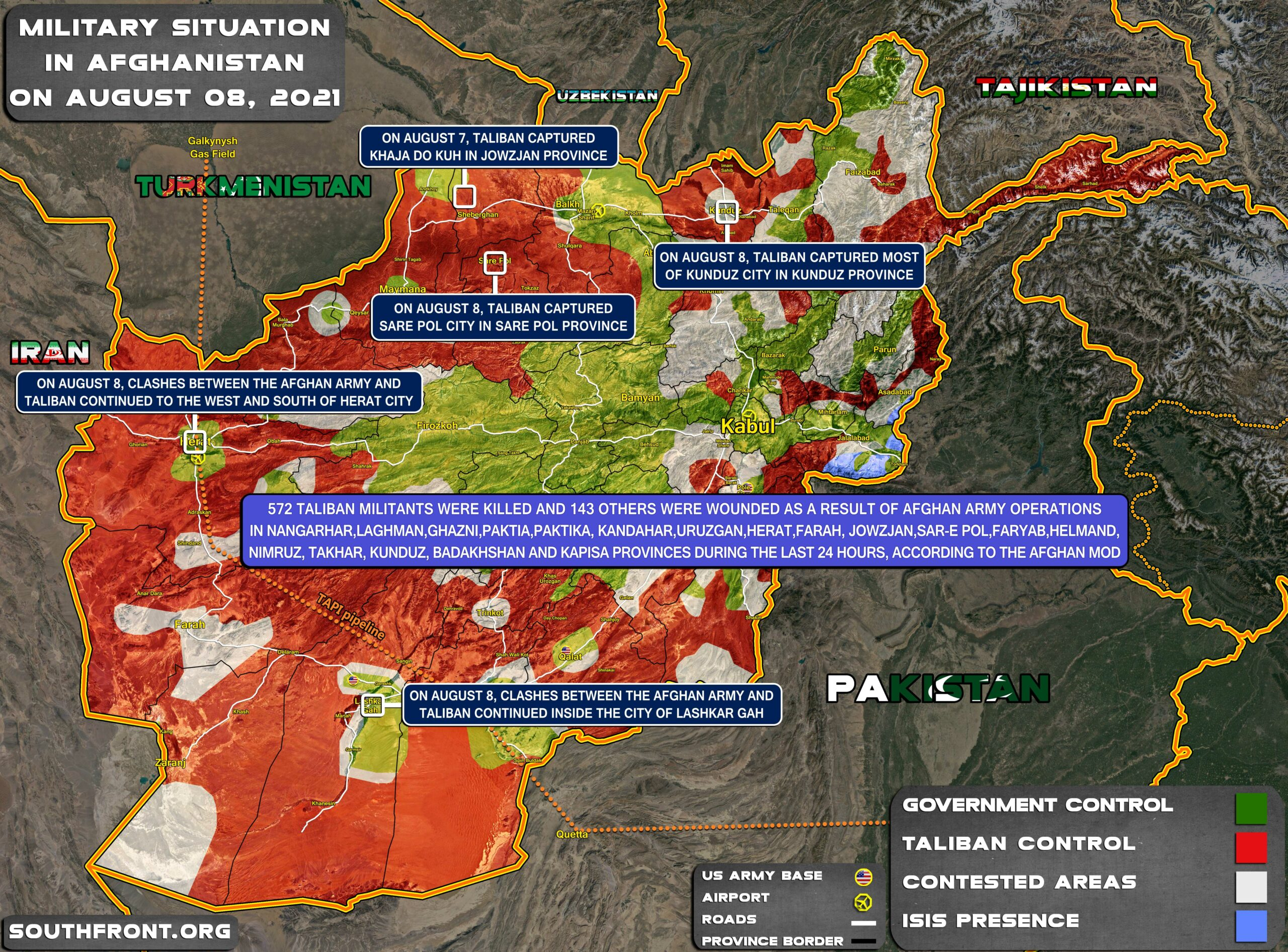 Military Situation In Afghanistan On August 8, 2021 (Map Update)