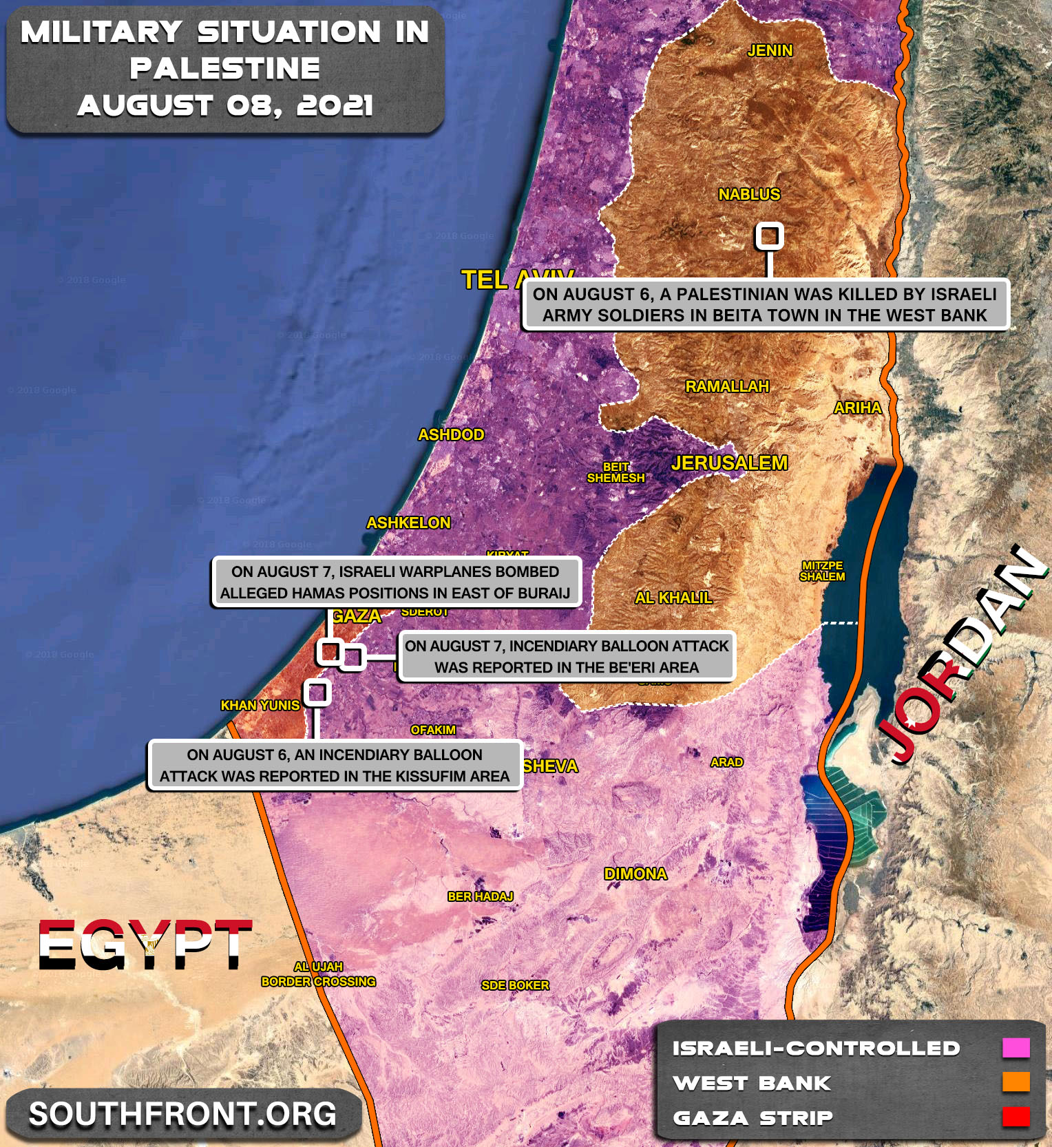Military Situation In The Gaza Strip And West Bank On August 8, 2021 (Map Update)