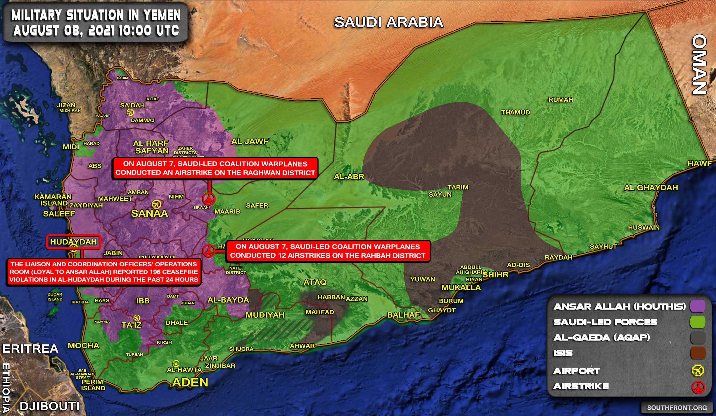 Military Situation In Yemen On August 8, 2021 (Map Update)