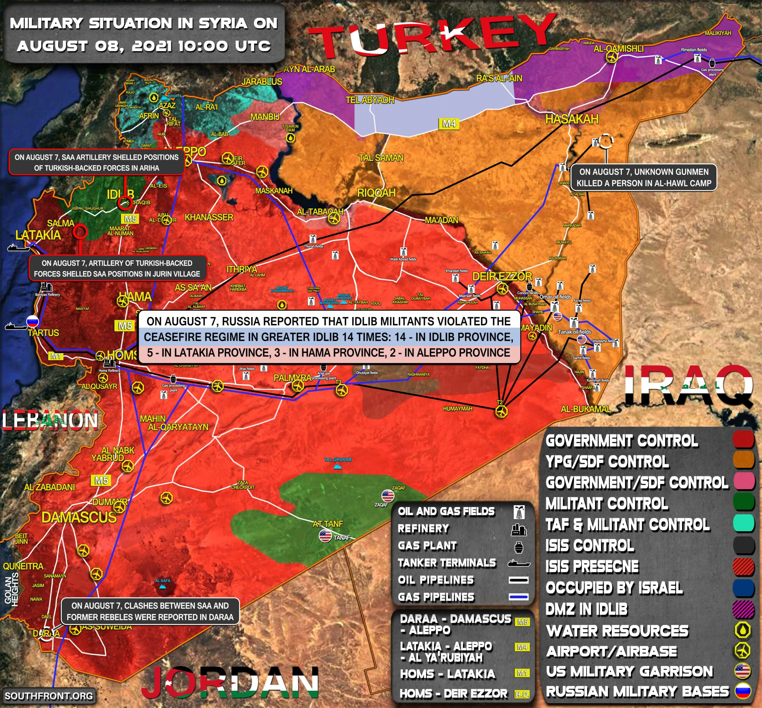 Military Situation In Syria On August 8, 2021 (Map Update)