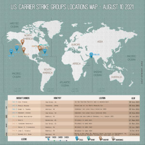 Locations Of US Carrier Strike Groups – August 10, 2021