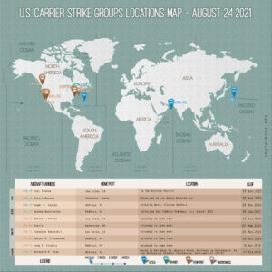 Locations Of US Carrier Strike Groups – August 24, 2021