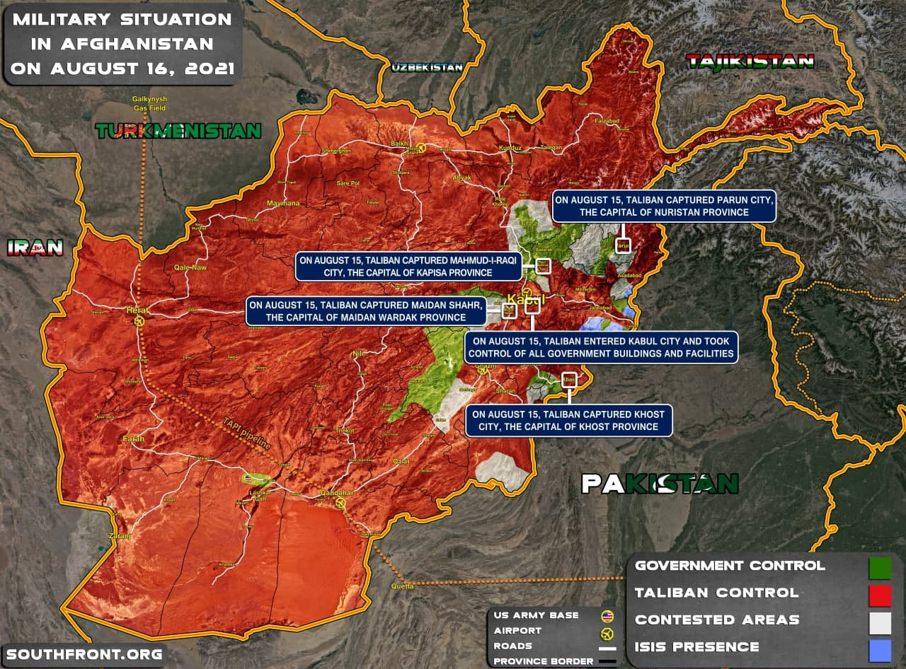 Military Situation In Afghanistan On August 16, 2021 (Map Update)