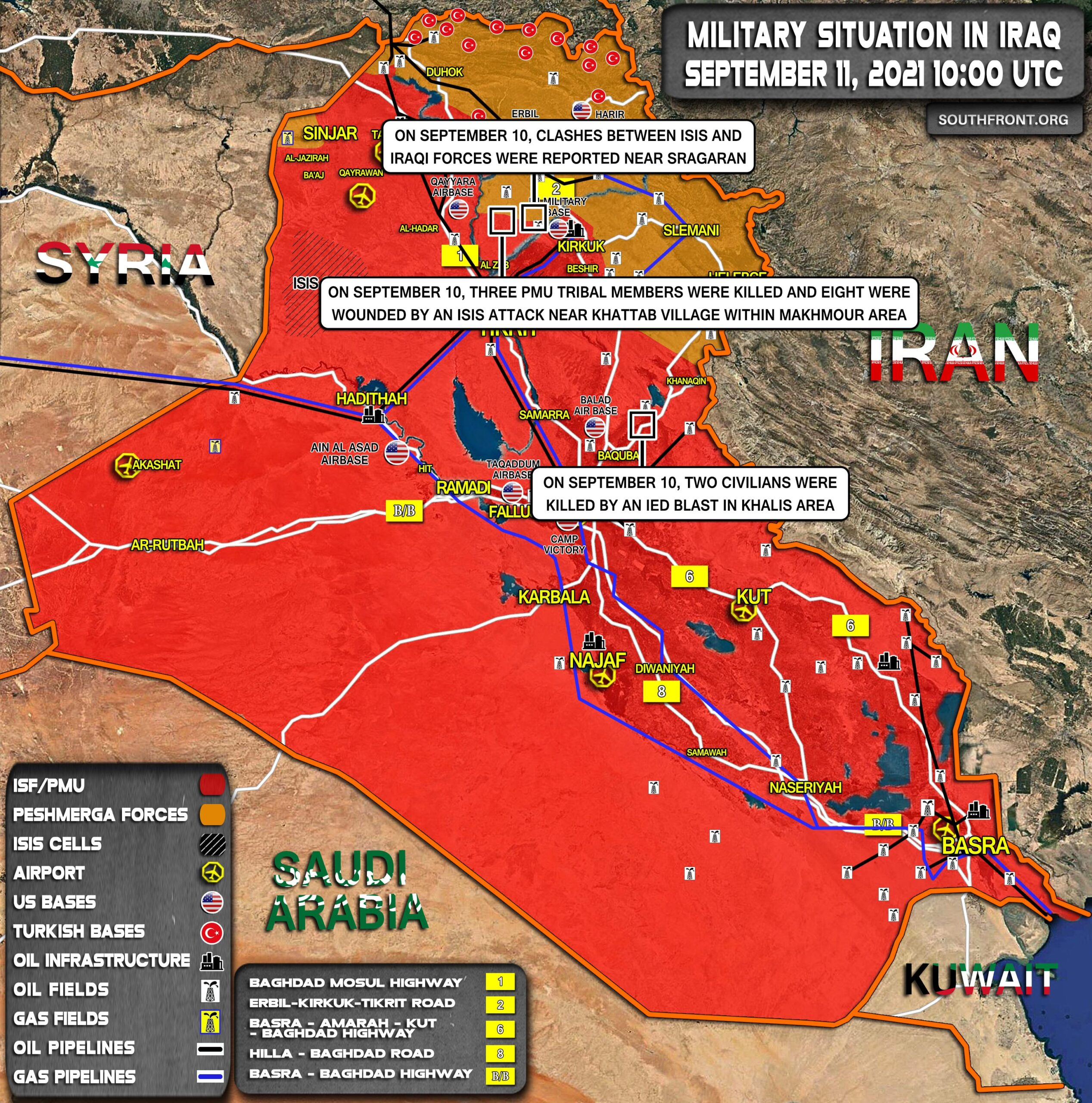 Military Situation In Iraq On September 11, 2021 (Map Update)