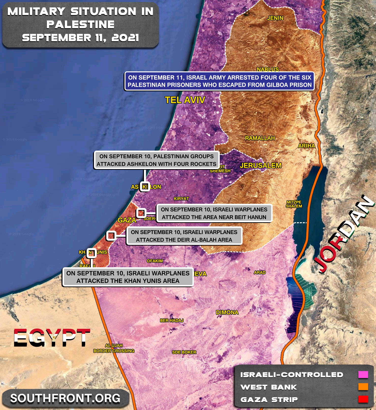 Military Situation In The West Bank and Gaza Strip On September 11, 2021 (Map Update)
