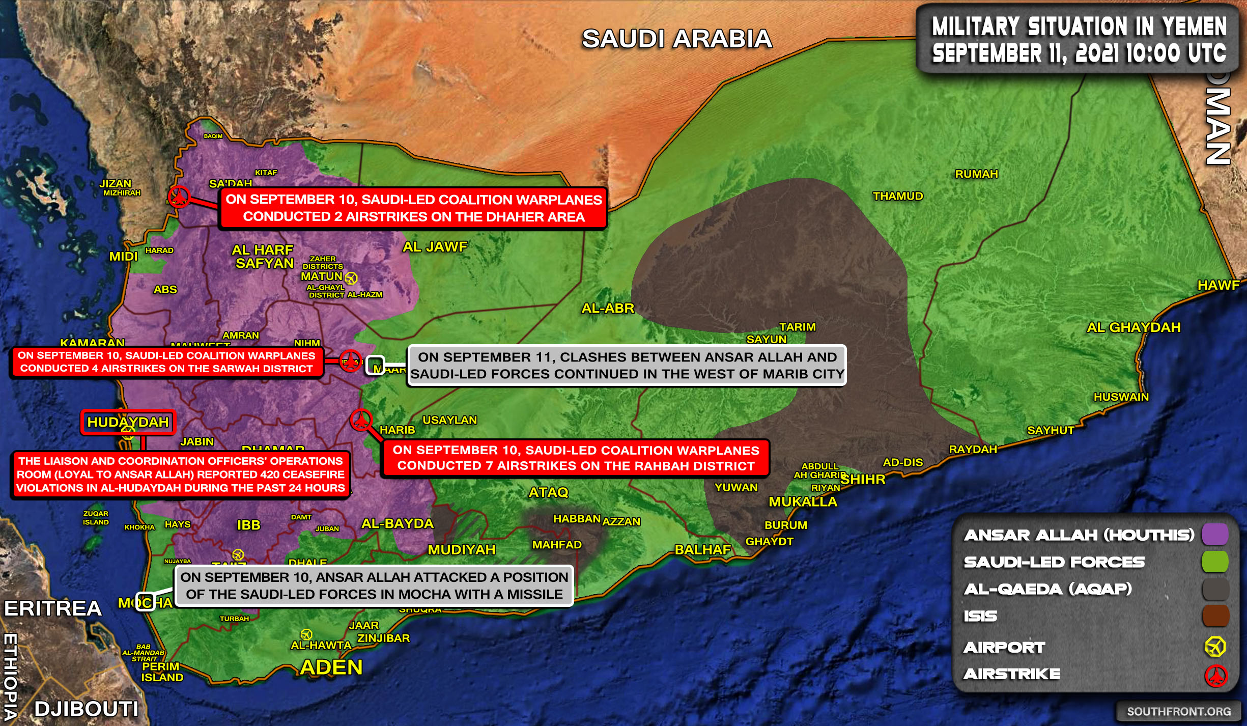 Military Situation In Yemen On September 11, 2021 (Map Update)