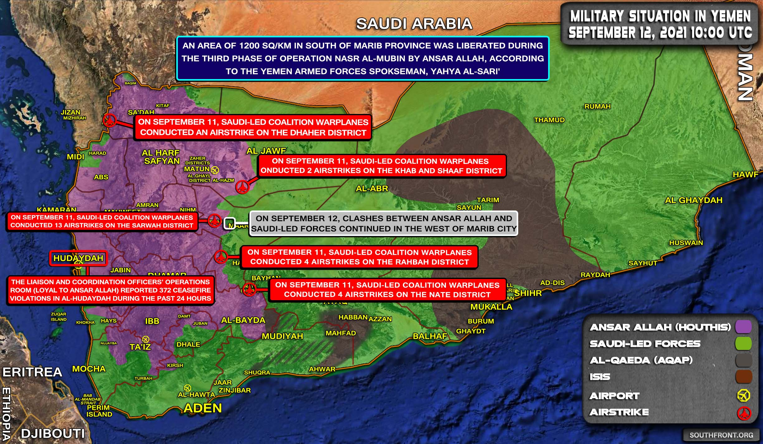Military Situation In Yemen On September 12, 2021 (Map Update)