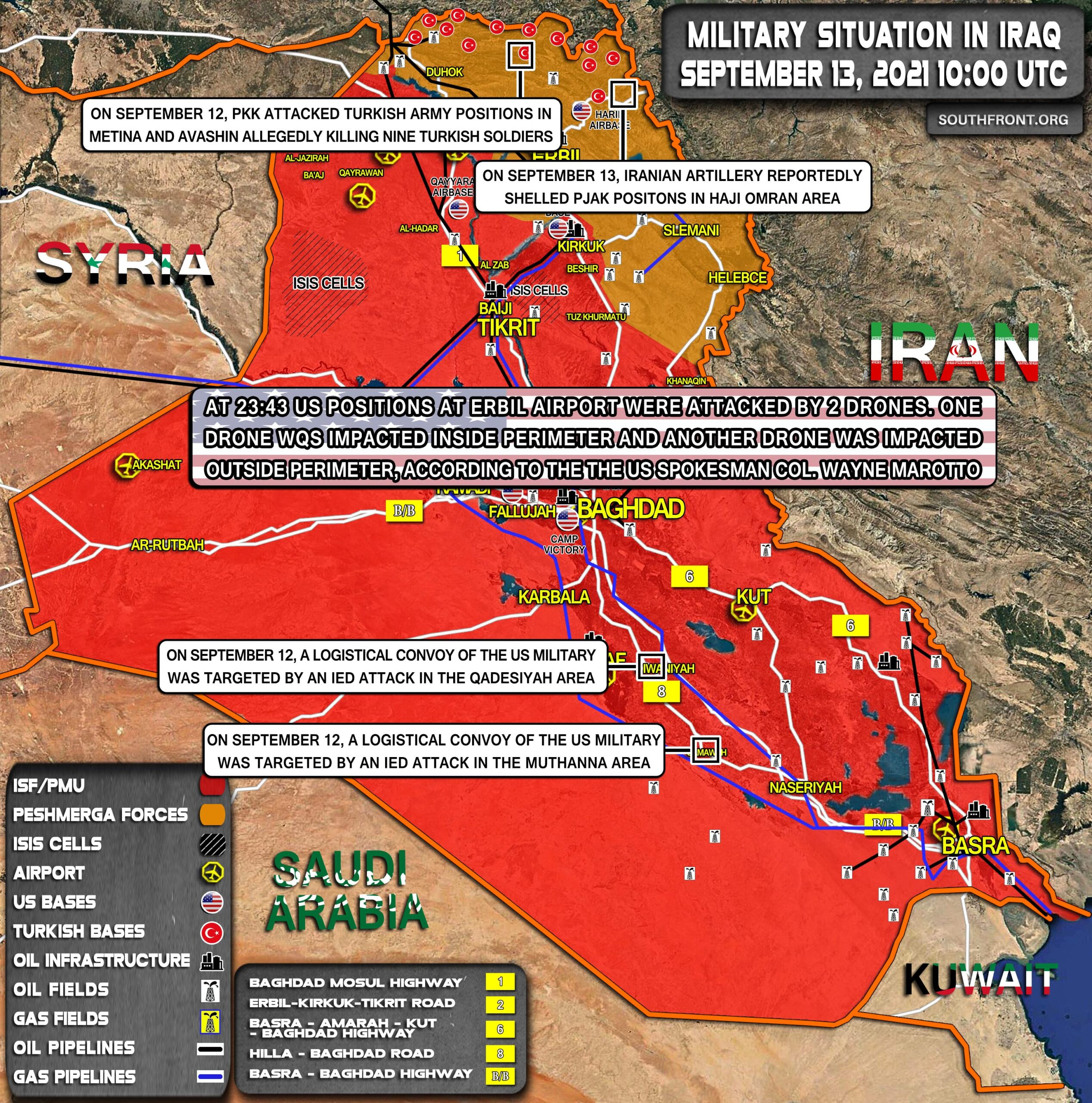 Military Situation In Iraq On September 13, 2021 (Map Update)