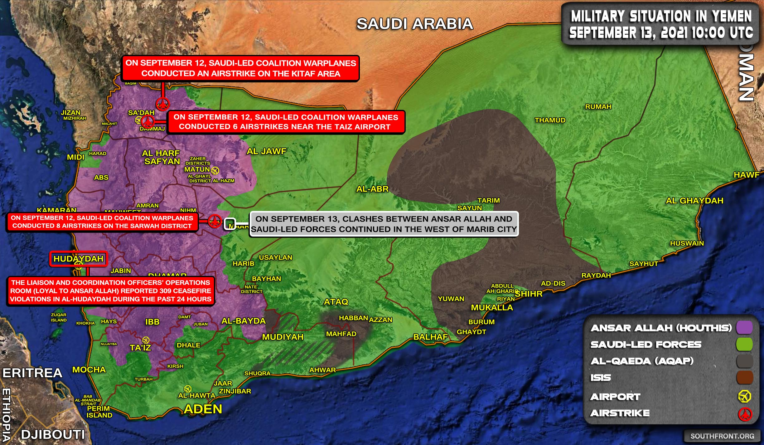 Military Situation In Yemen On September 13, 2021 (Map Update)