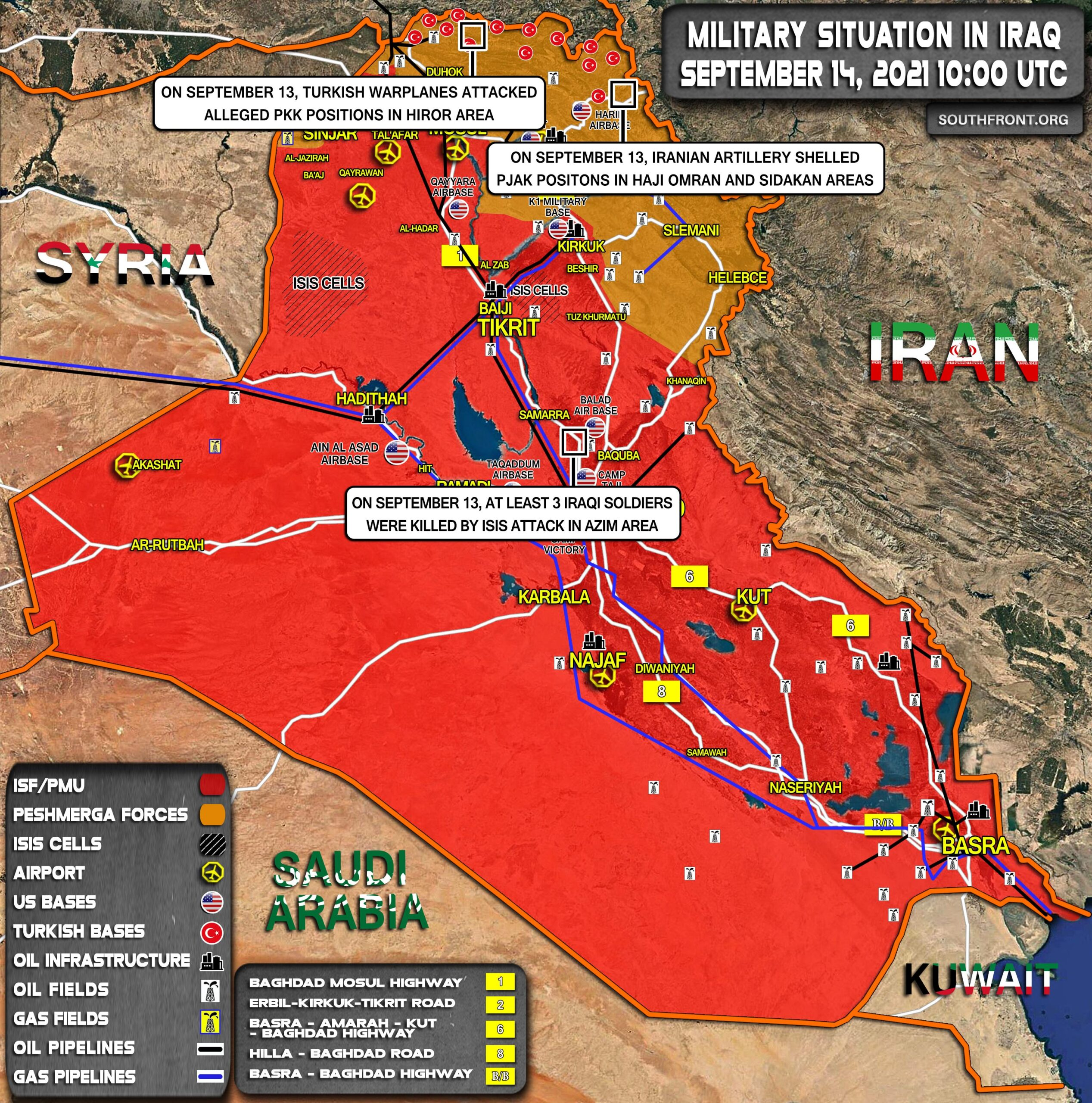 Military Situation In Iraq On September 14, 2021 (Map Update)