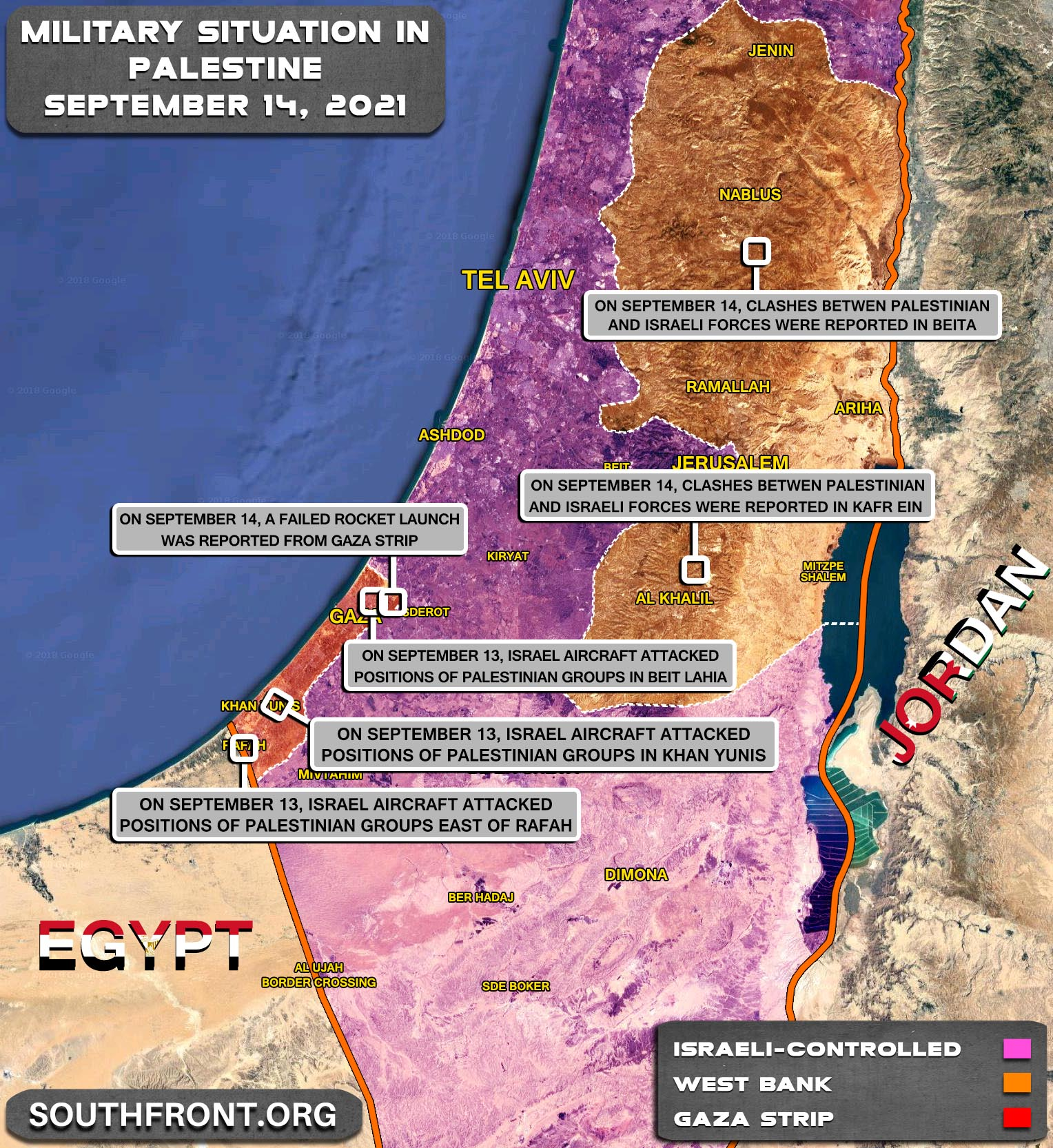 Military Situation In The West Bank and Gaza Strip On September 14, 2021 (Map Update)