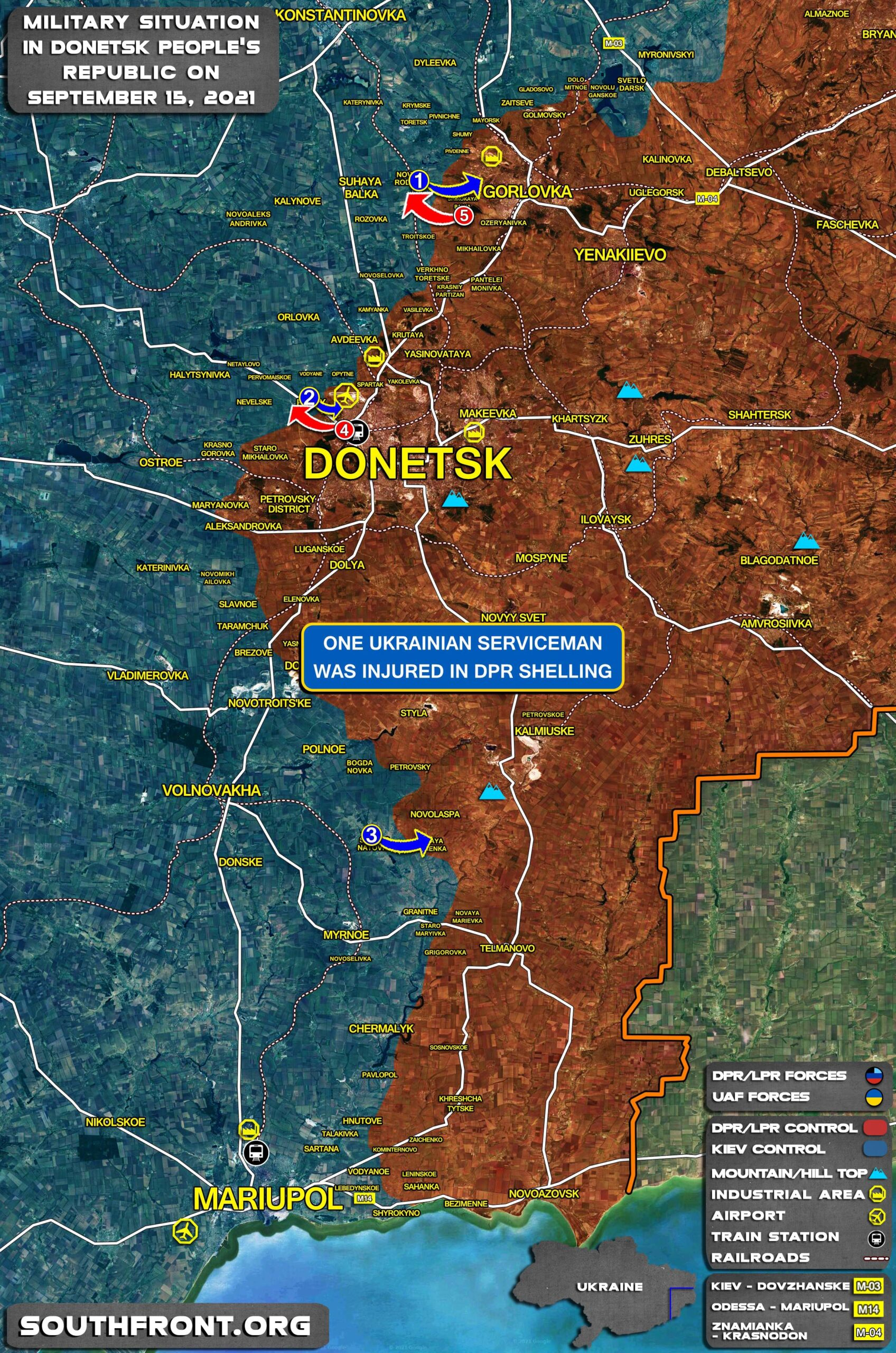 Military Situation In Donetsk People's Republic On September 15, 2021 (Map Update)
