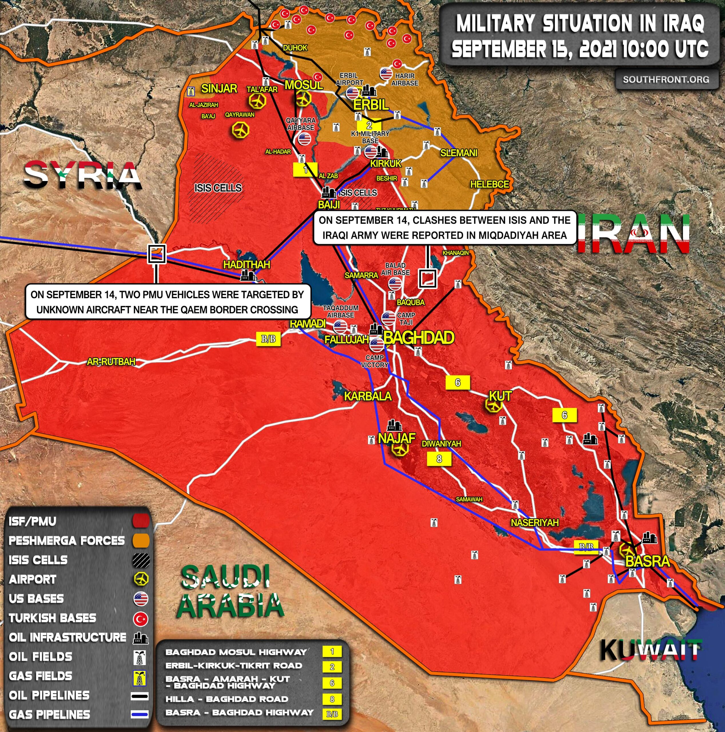 Military Situation In Iraq On September 15, 2021 (Map Update)