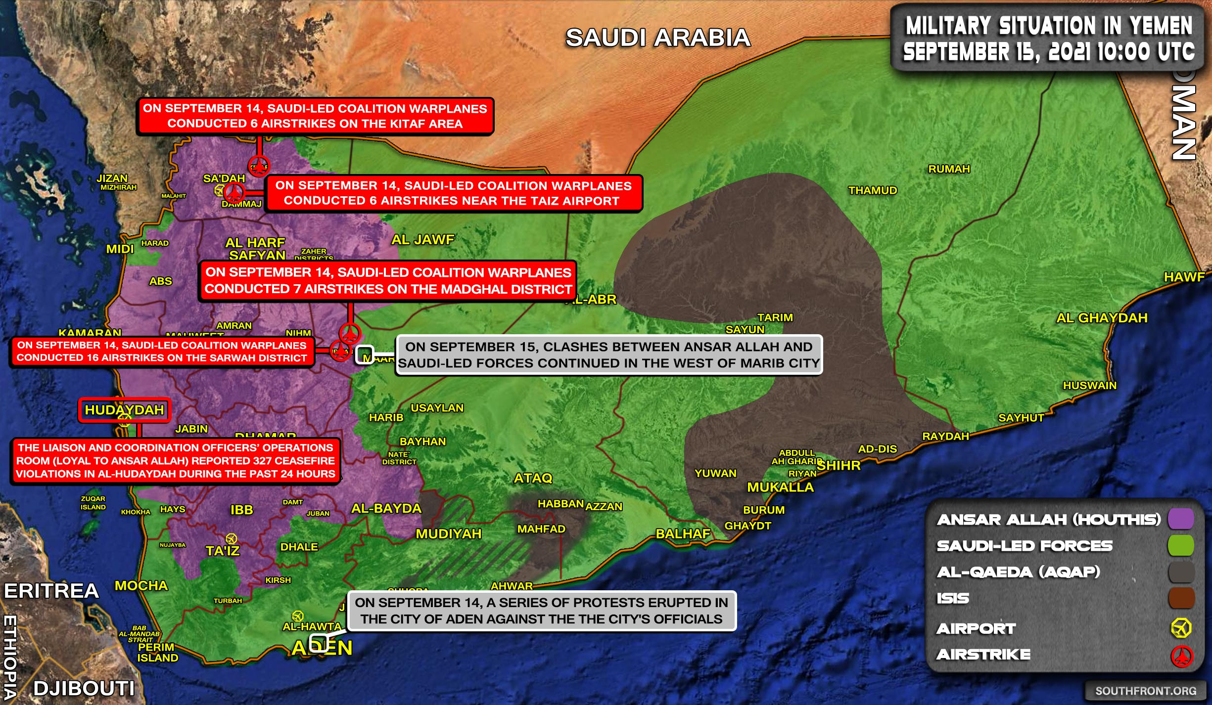 Military Situation In Yemen On September 15, 2021 (Map Update)