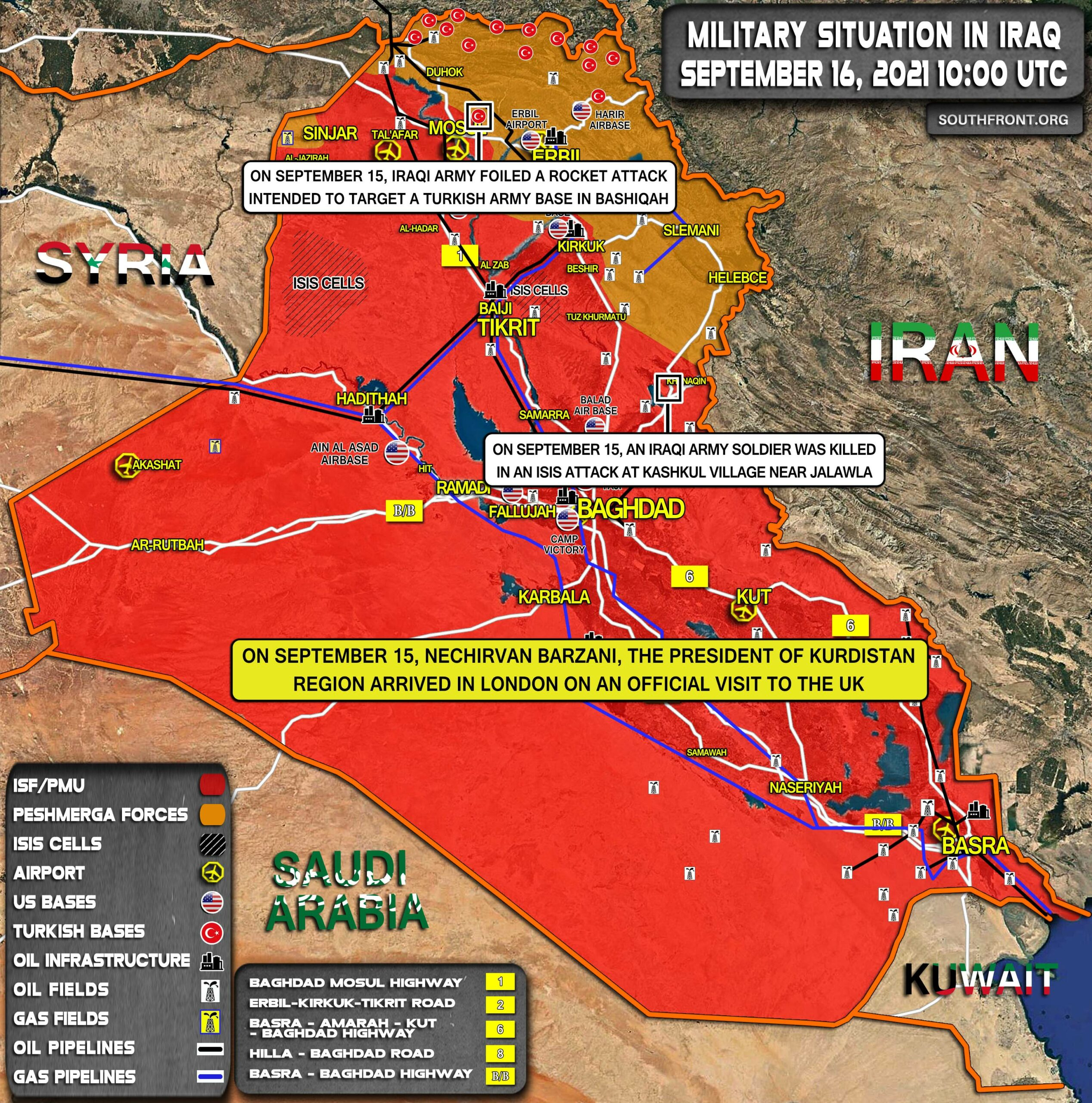 Military Situation In Iraq On September 16, 2021 (Map Update)