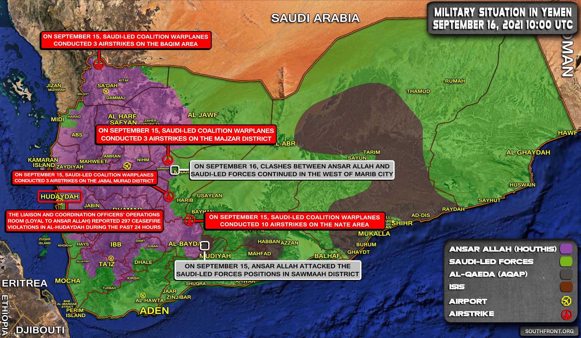 Military Situation In Yemen On September 16, 2021 (Map Update)