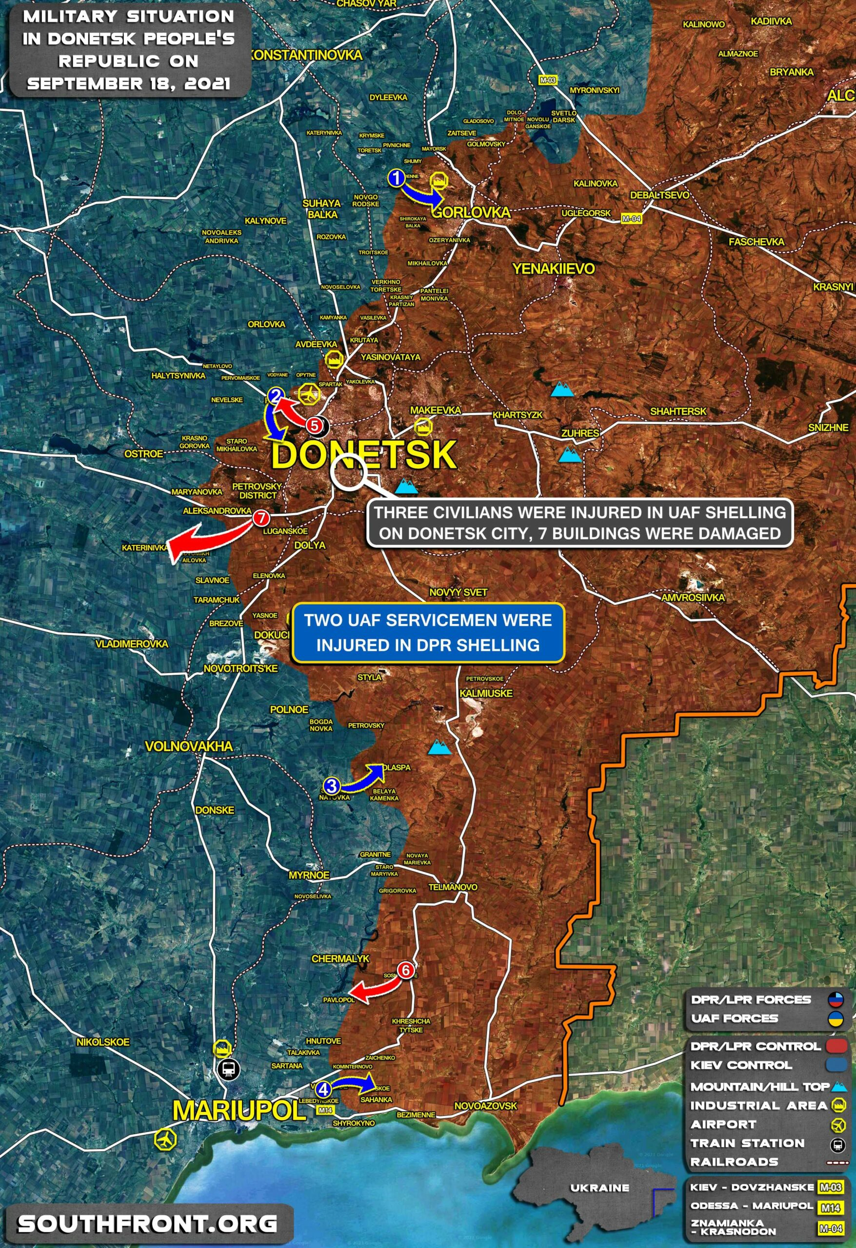 Military Situation In Donetsk People's Republic On September 18, 2021 (Map Update)