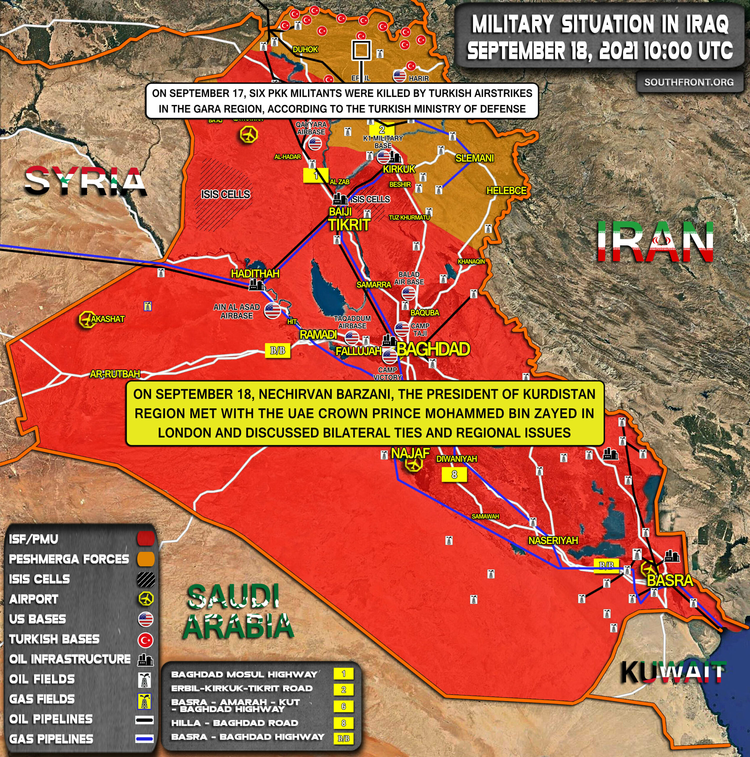 Military Situation In Iraq On September 18, 2021 (Map Update)