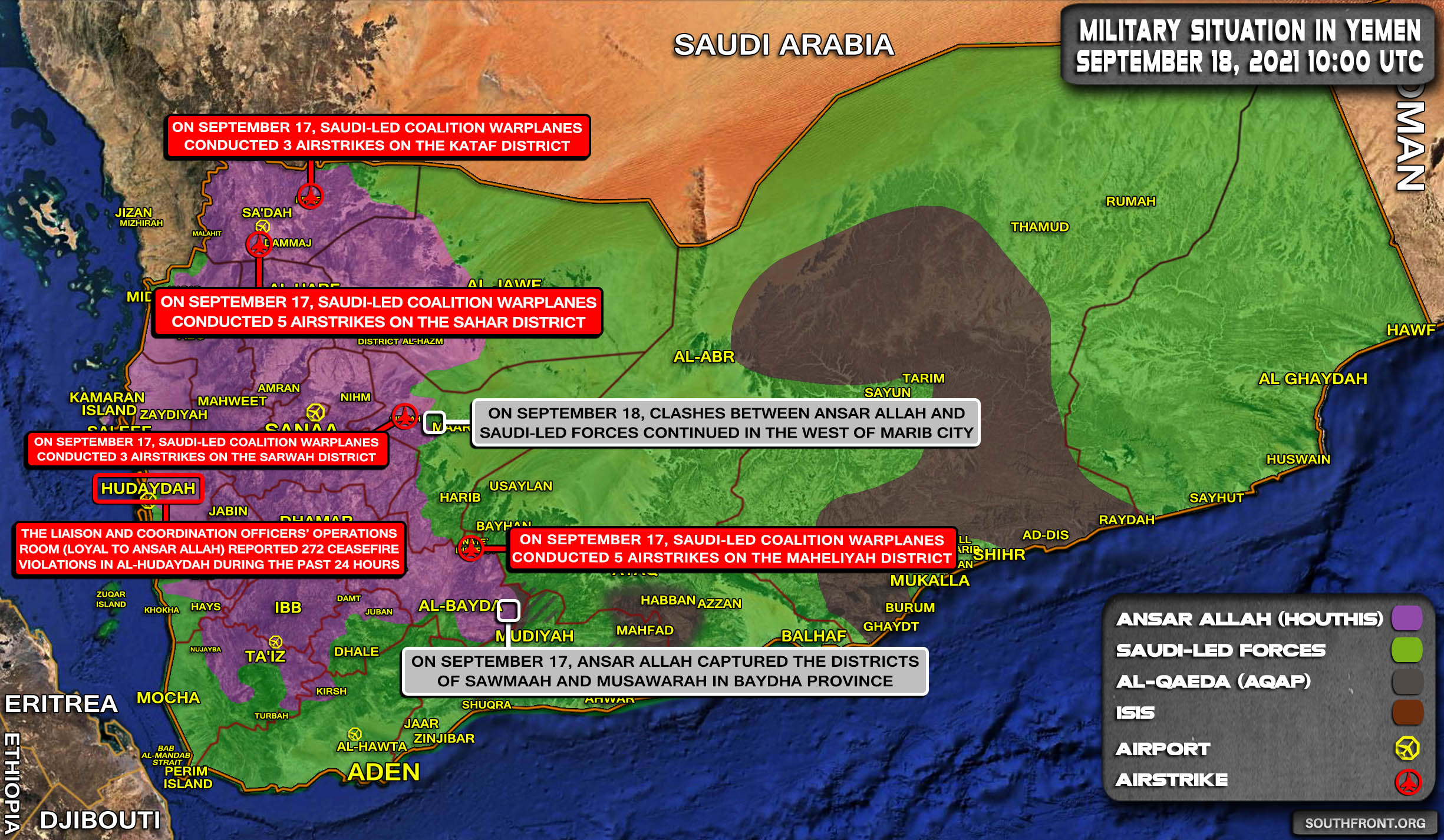 Military Situation In Yemen On September 18, 2021 (Map Update)