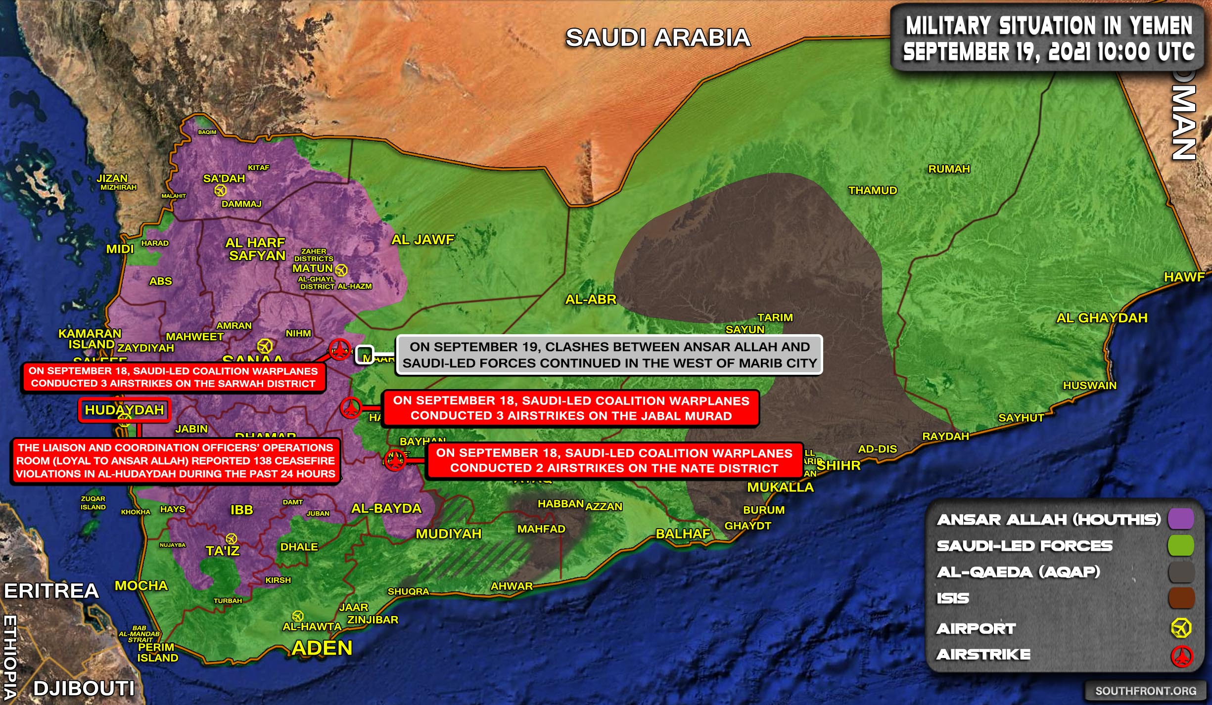 Military Situation In Yemen On September 19, 2021 (Map Update)