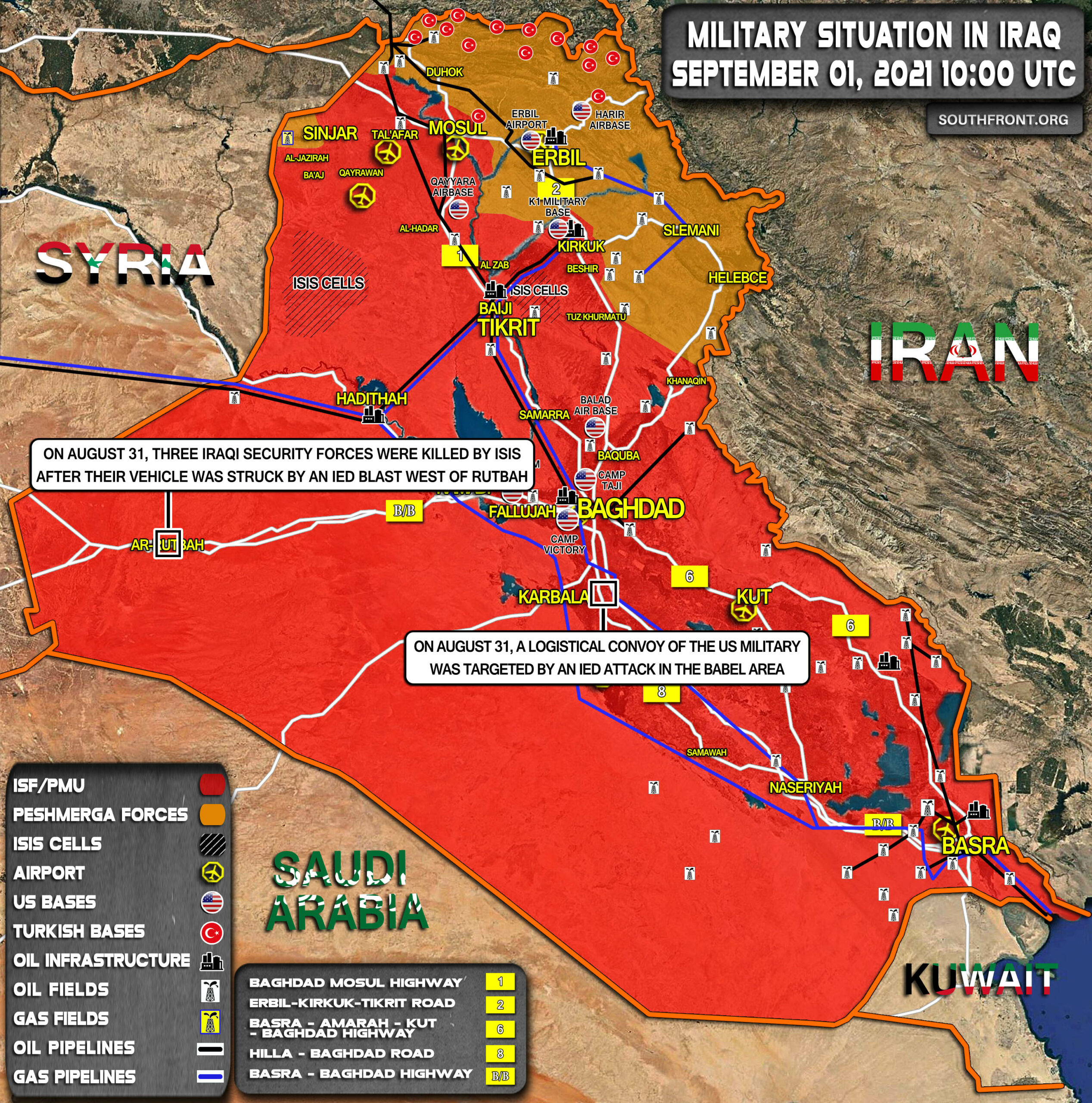 Military Situation In Iraq On September 1, 2021 (Map Update)