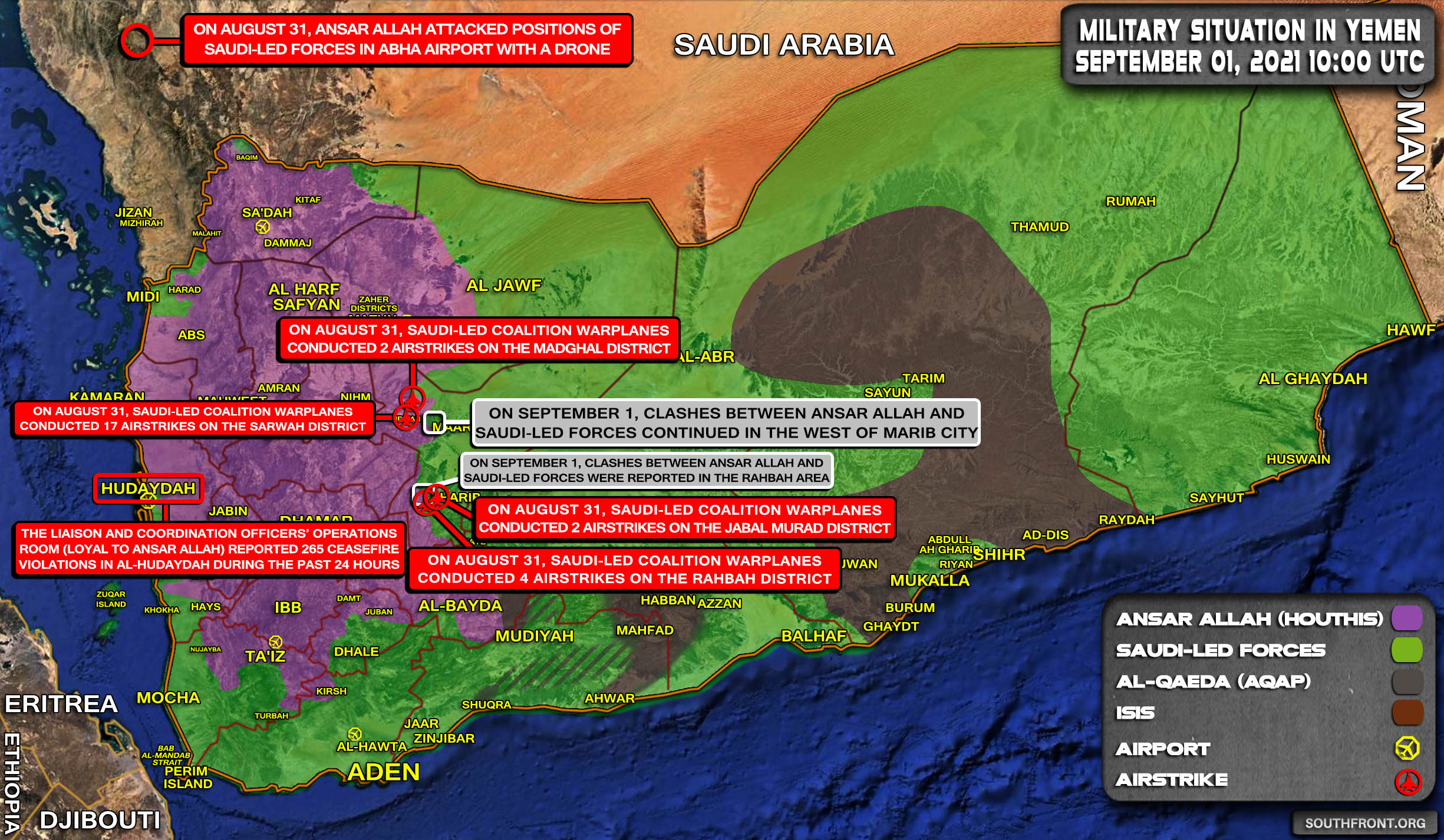Military Situation In Yemen On September 1, 2021 (Map Update)