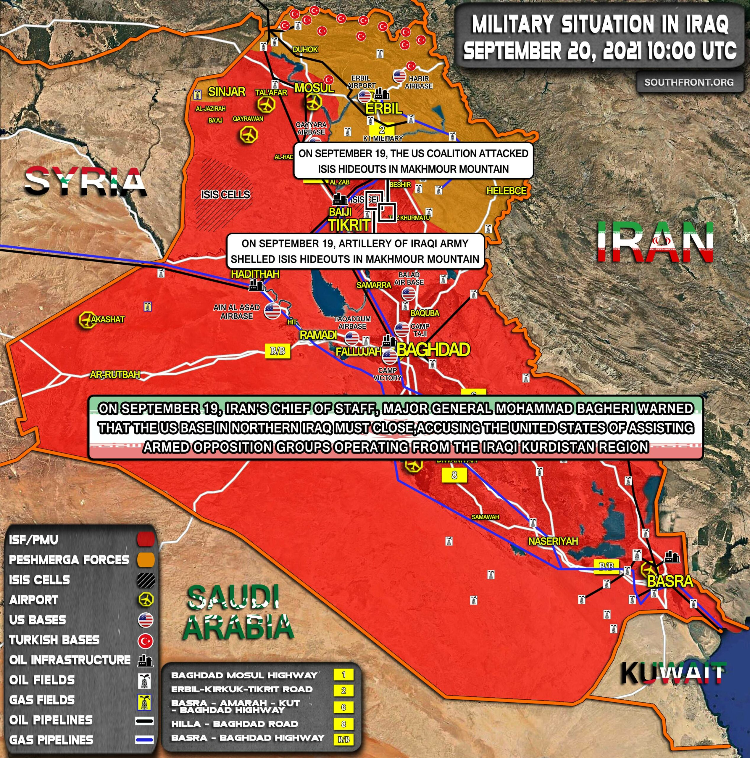 Military Situation In Iraq On September 20, 2021 (Map Update)