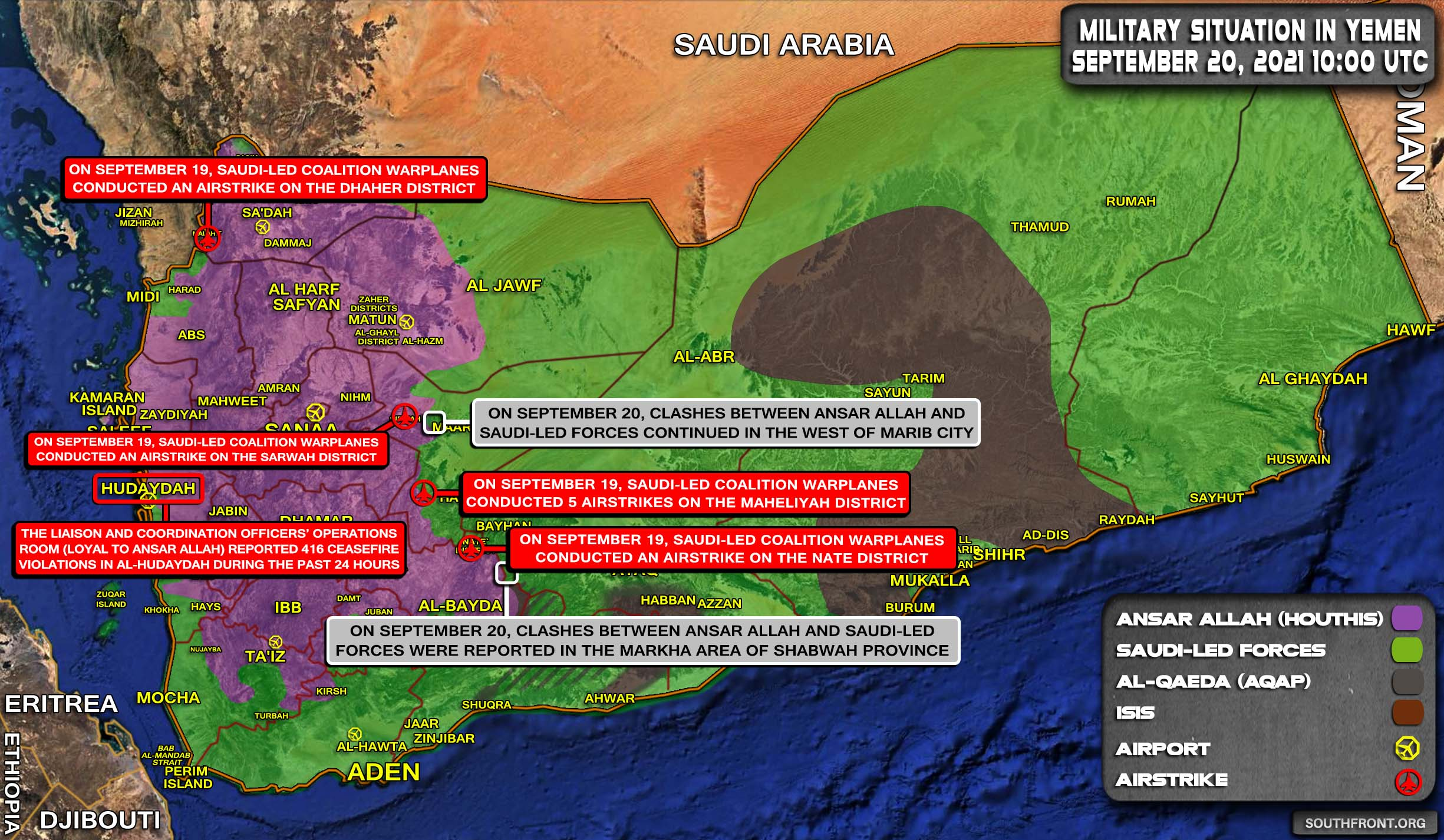 Military Situation In Yemen On September 20, 2021 (Map Update)