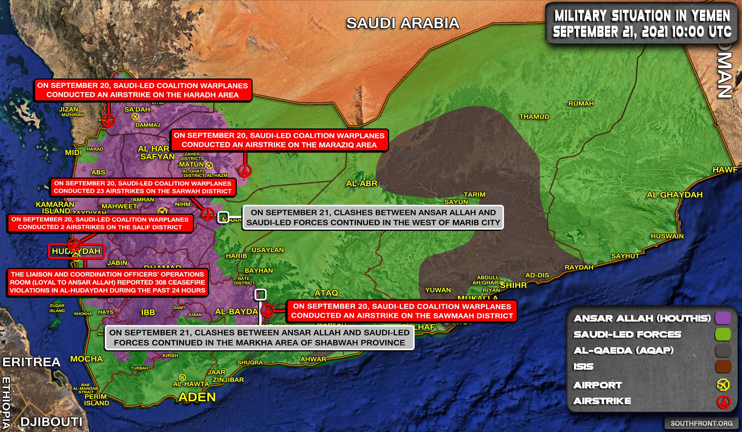 Military Situation In Yemen On September 21, 2021 (Map Update)