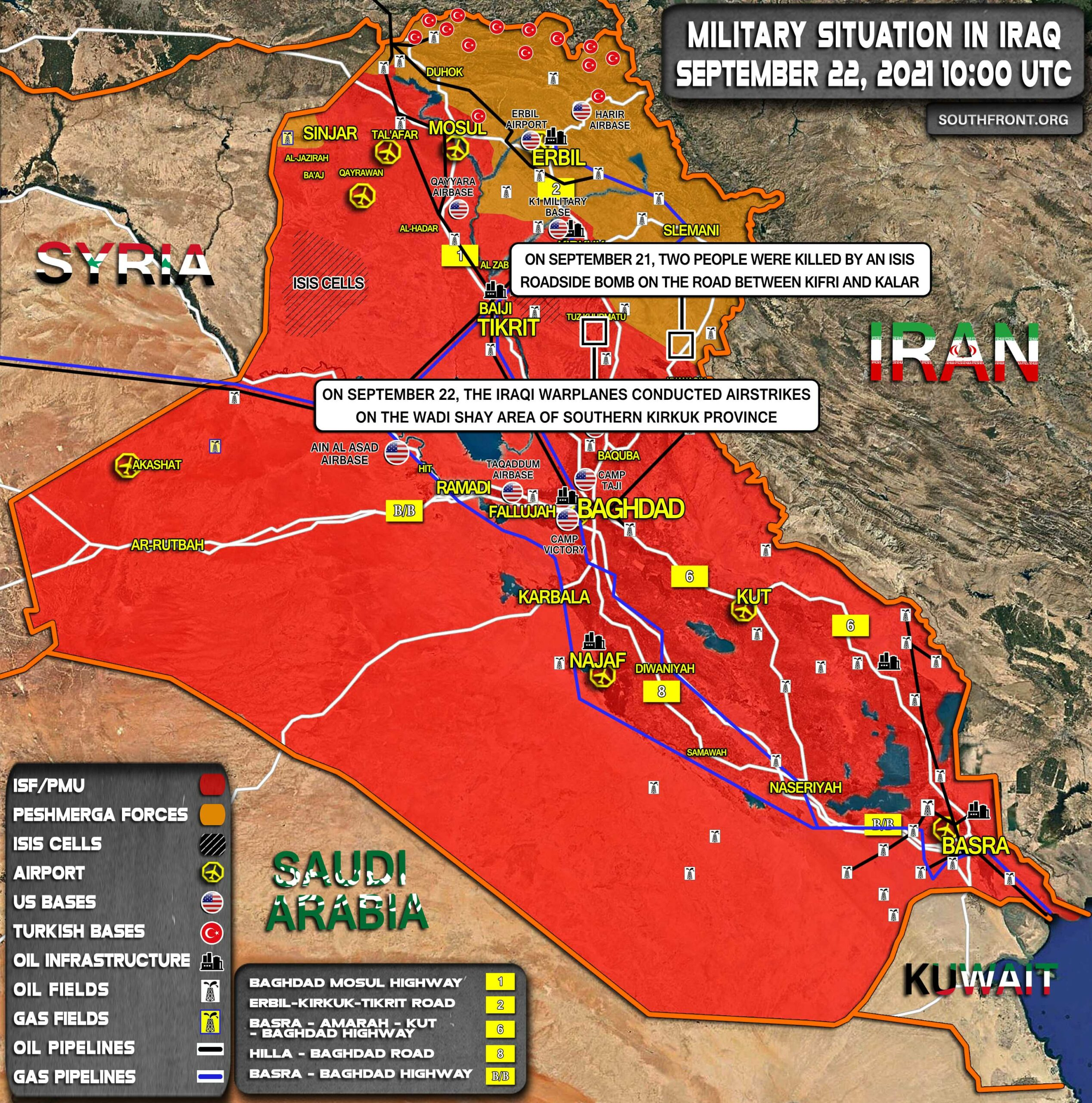 Military Situation In Iraq On September 22, 2021 (Map Update)