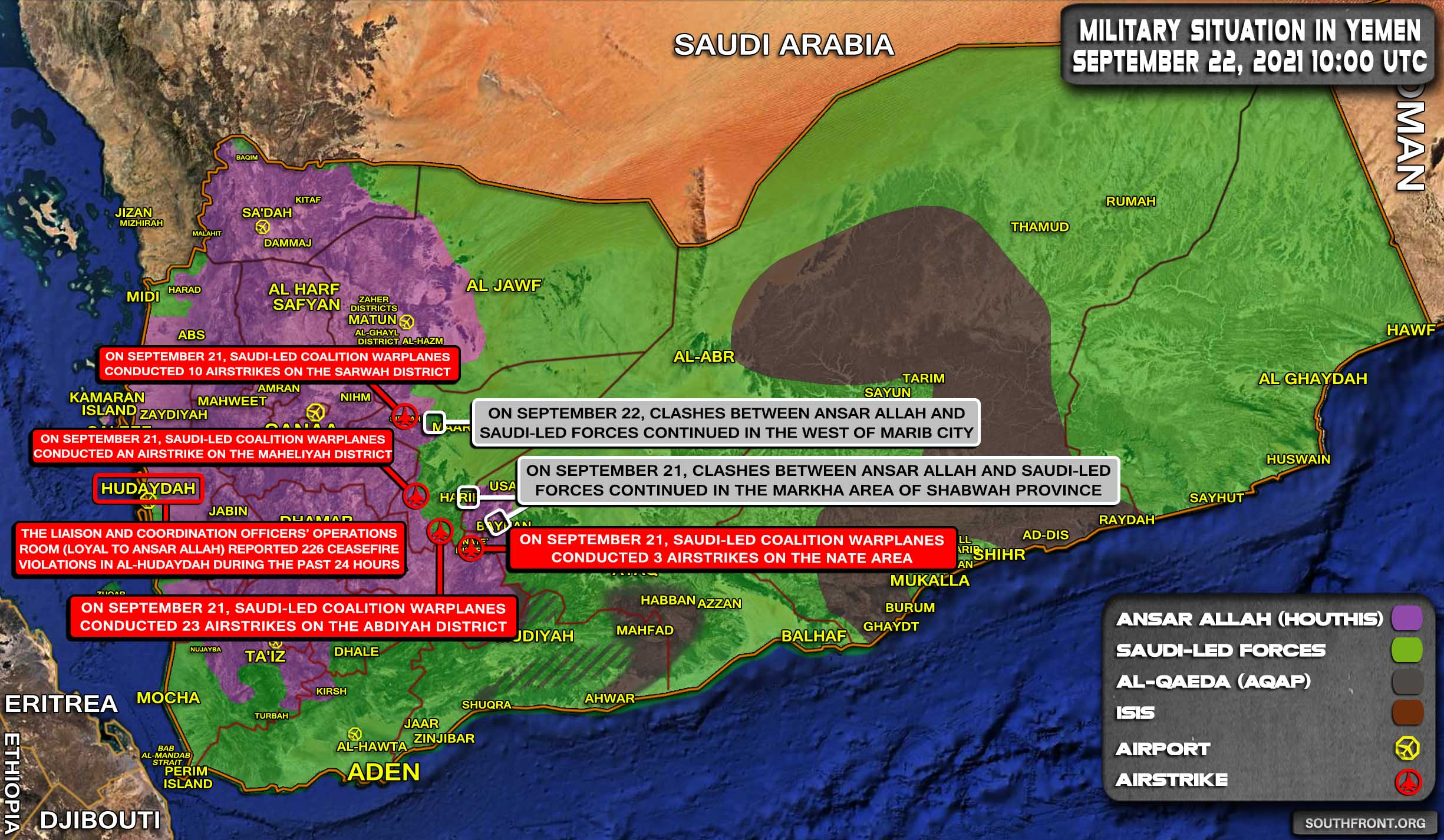 Military Situation In Yemen On September 22, 2021 (Map Update)