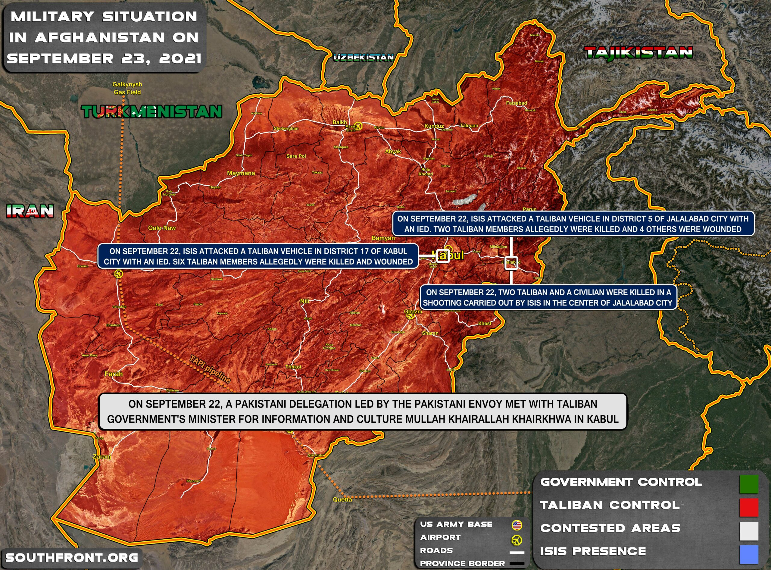 Military Situation In Afghanistan On September 23, 2021 (Map Update)